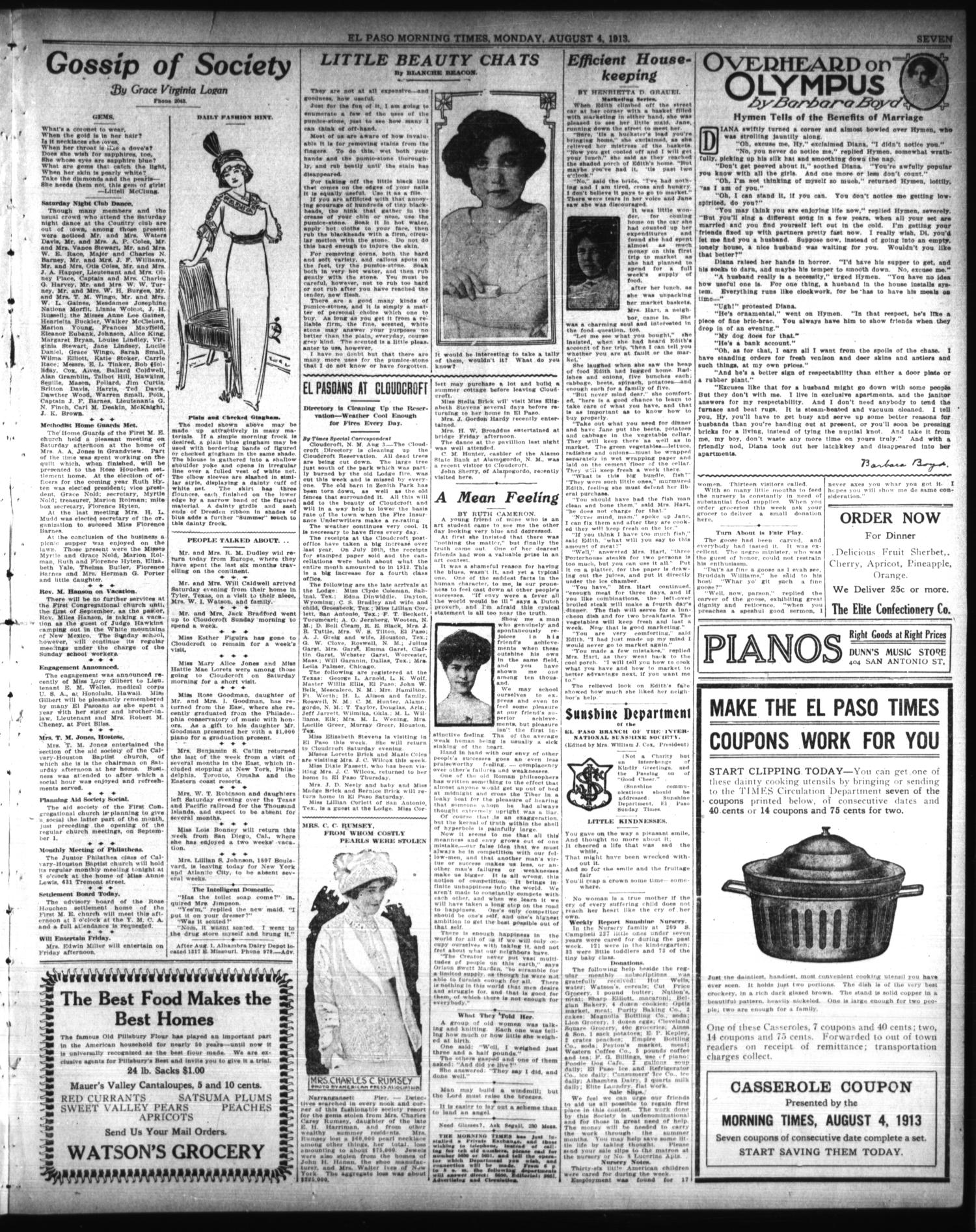 El Paso Morning Times (El Paso, Tex.), Vol. 33RD YEAR, Ed. 1, Monday, August 4, 1913                                                                                                      [Sequence #]: 7 of 12
