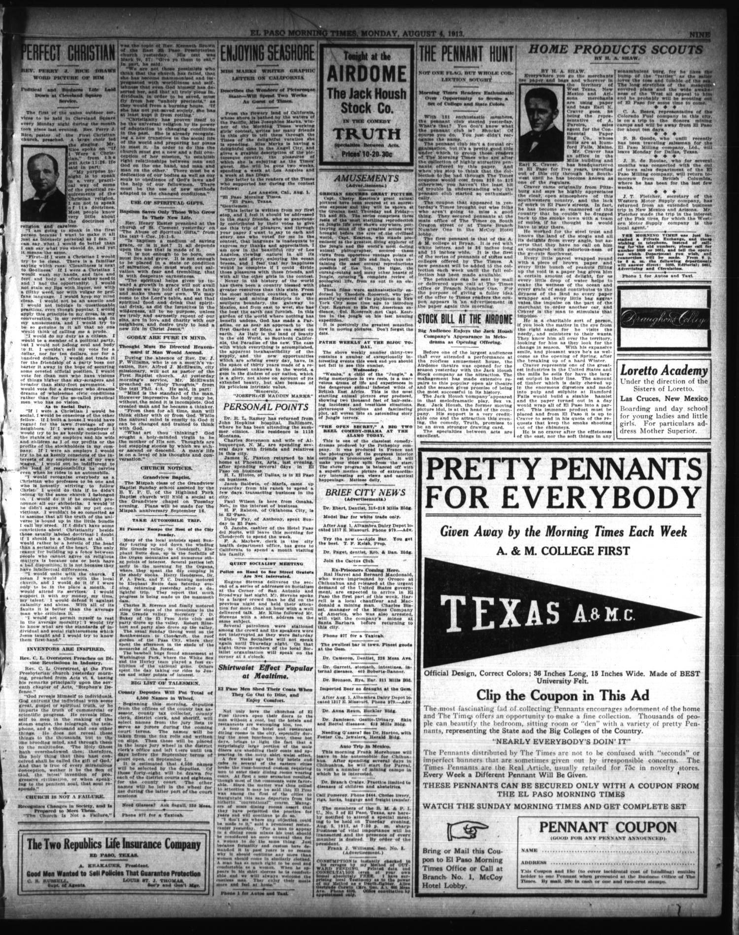 El Paso Morning Times (El Paso, Tex.), Vol. 33RD YEAR, Ed. 1, Monday, August 4, 1913                                                                                                      [Sequence #]: 9 of 12