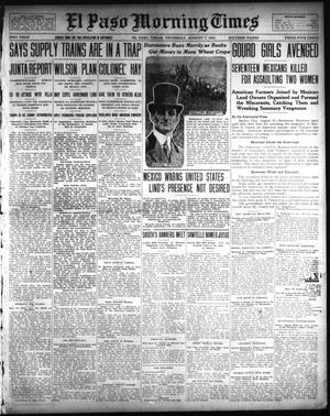 Primary view of object titled 'El Paso Morning Times (El Paso, Tex.), Vol. 33RD YEAR, Ed. 1, Thursday, August 7, 1913'.