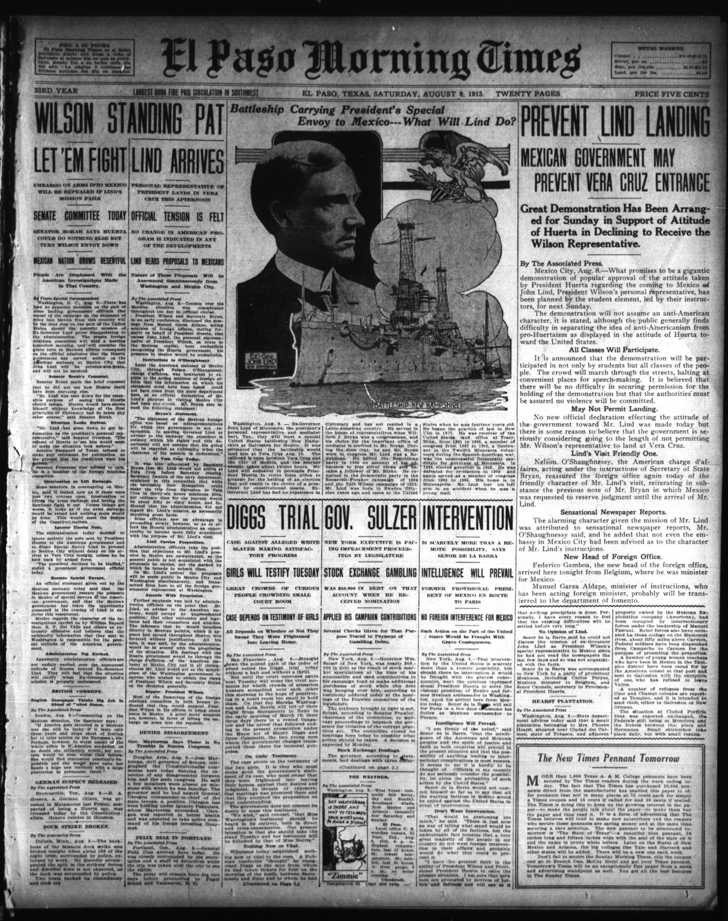 El Paso Morning Times (El Paso, Tex.), Vol. 33RD YEAR, Ed. 1, Saturday, August 9, 1913                                                                                                      [Sequence #]: 1 of 20