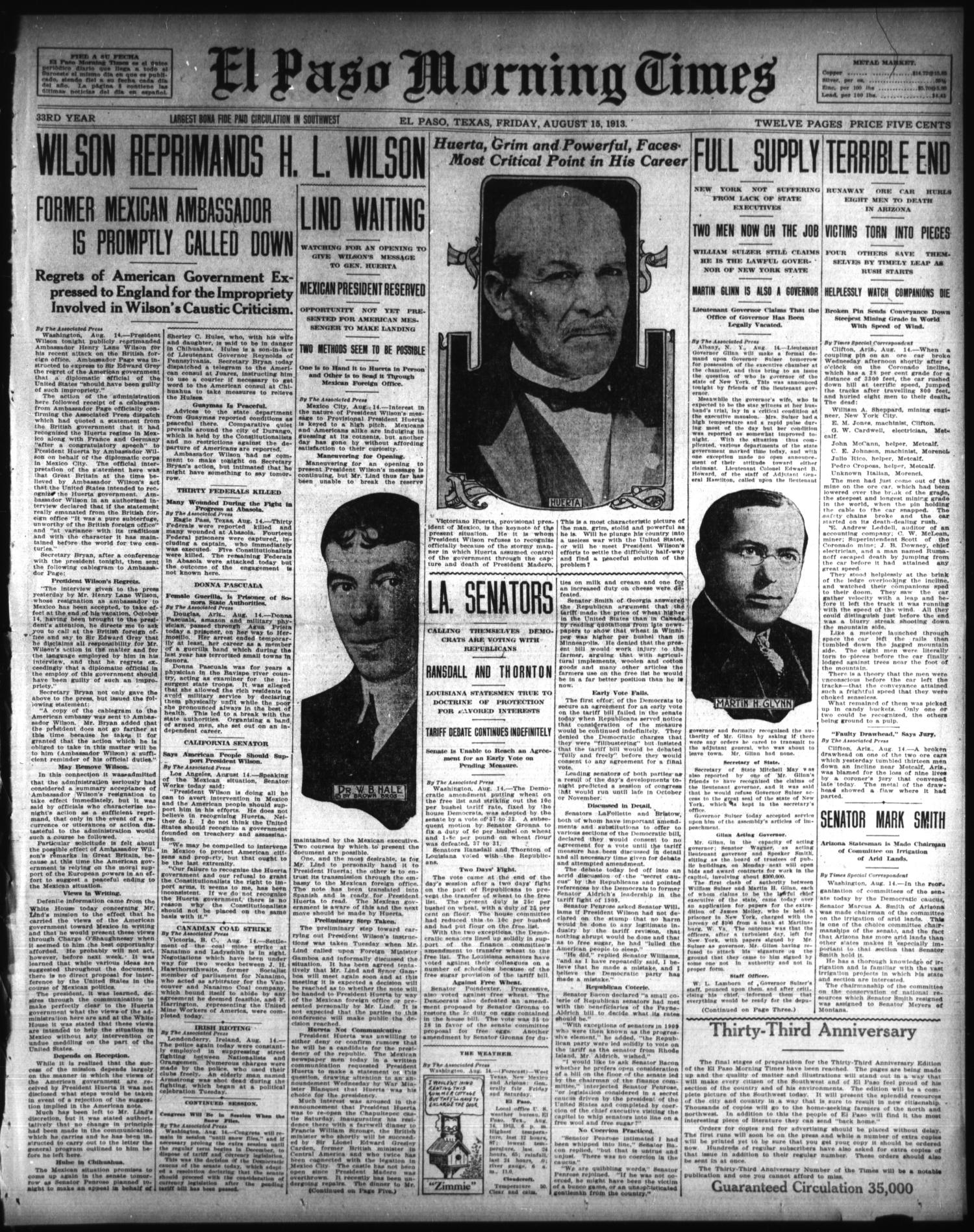 El Paso Morning Times (El Paso, Tex.), Vol. 33RD YEAR, Ed. 1, Friday, August 15, 1913                                                                                                      [Sequence #]: 1 of 10