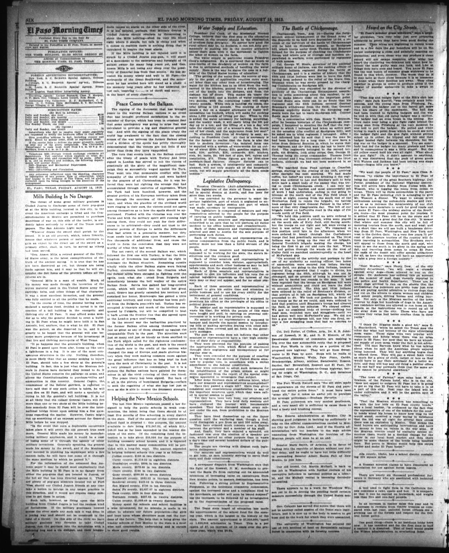 El Paso Morning Times (El Paso, Tex.), Vol. 33RD YEAR, Ed. 1, Friday, August 15, 1913                                                                                                      [Sequence #]: 6 of 10