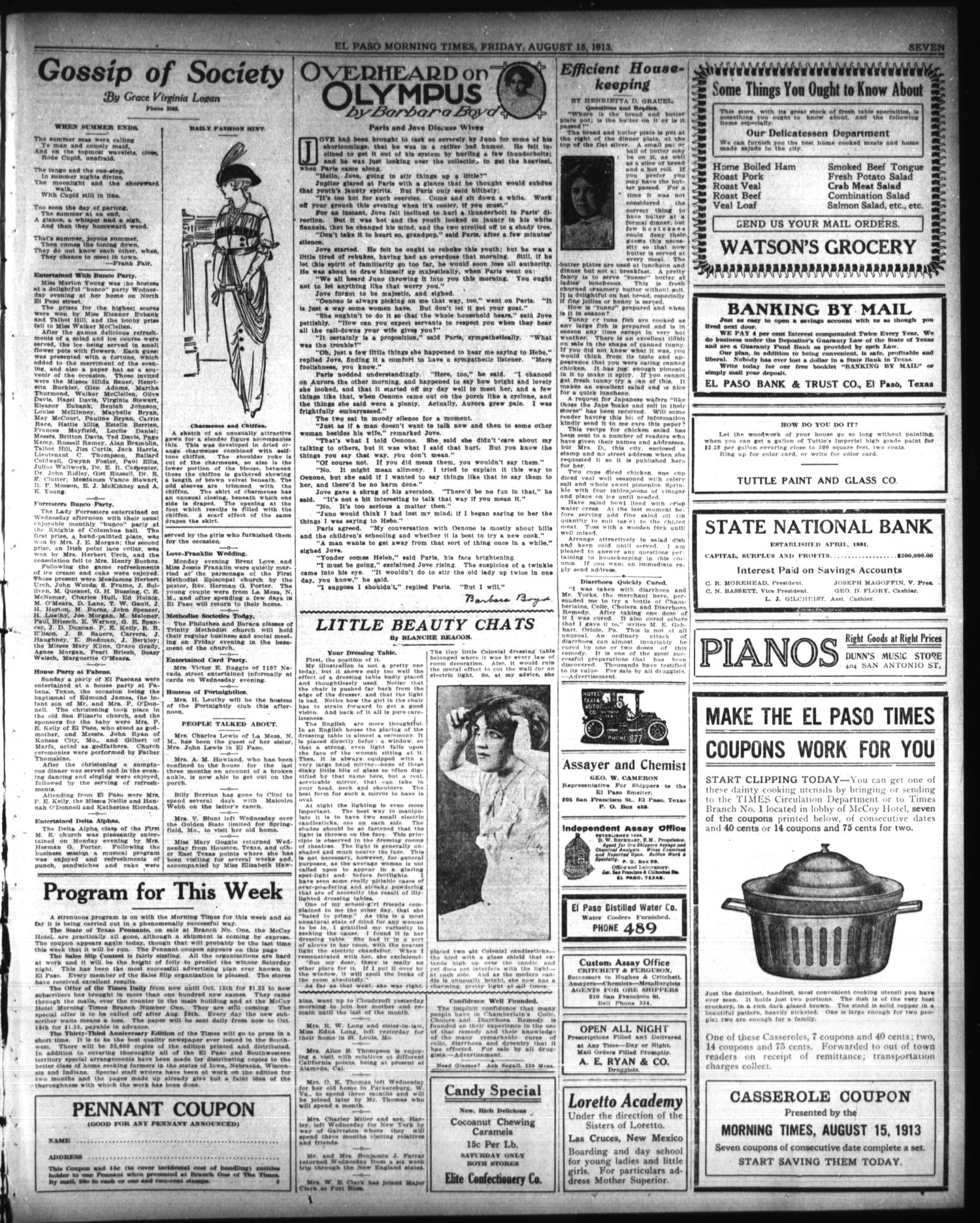 El Paso Morning Times (El Paso, Tex.), Vol. 33RD YEAR, Ed. 1, Friday, August 15, 1913                                                                                                      [Sequence #]: 7 of 10