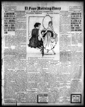 Primary view of object titled 'El Paso Morning Times (El Paso, Tex.), Vol. 35TH YEAR, Ed. 1, Saturday, February 13, 1915'.