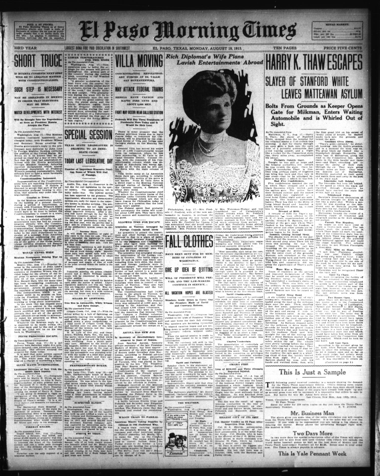 El Paso Morning Times (El Paso, Tex.), Vol. 33RD YEAR, Ed. 1, Monday, August 18, 1913                                                                                                      [Sequence #]: 1 of 10