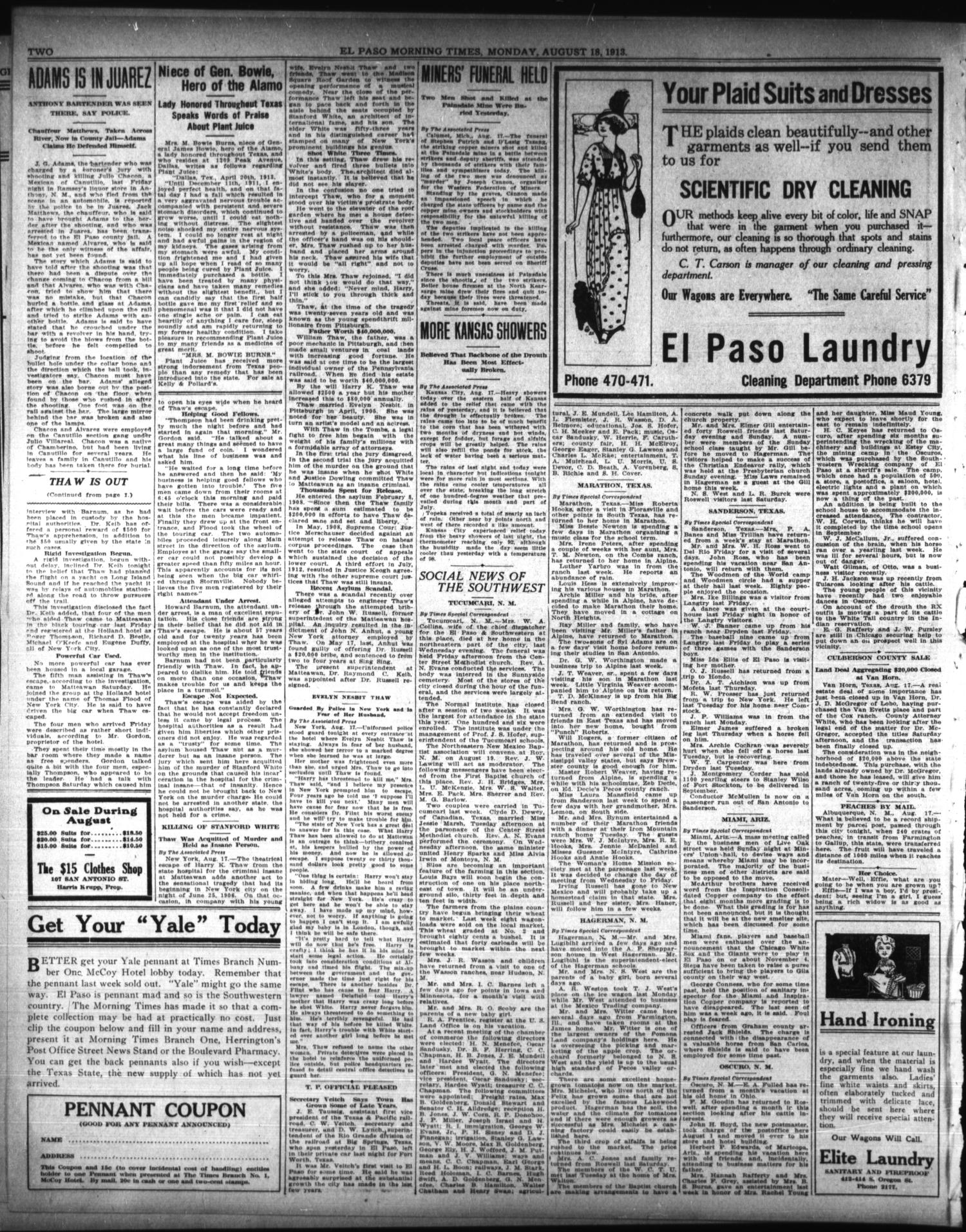 El Paso Morning Times (El Paso, Tex.), Vol. 33RD YEAR, Ed. 1, Monday, August 18, 1913                                                                                                      [Sequence #]: 2 of 10