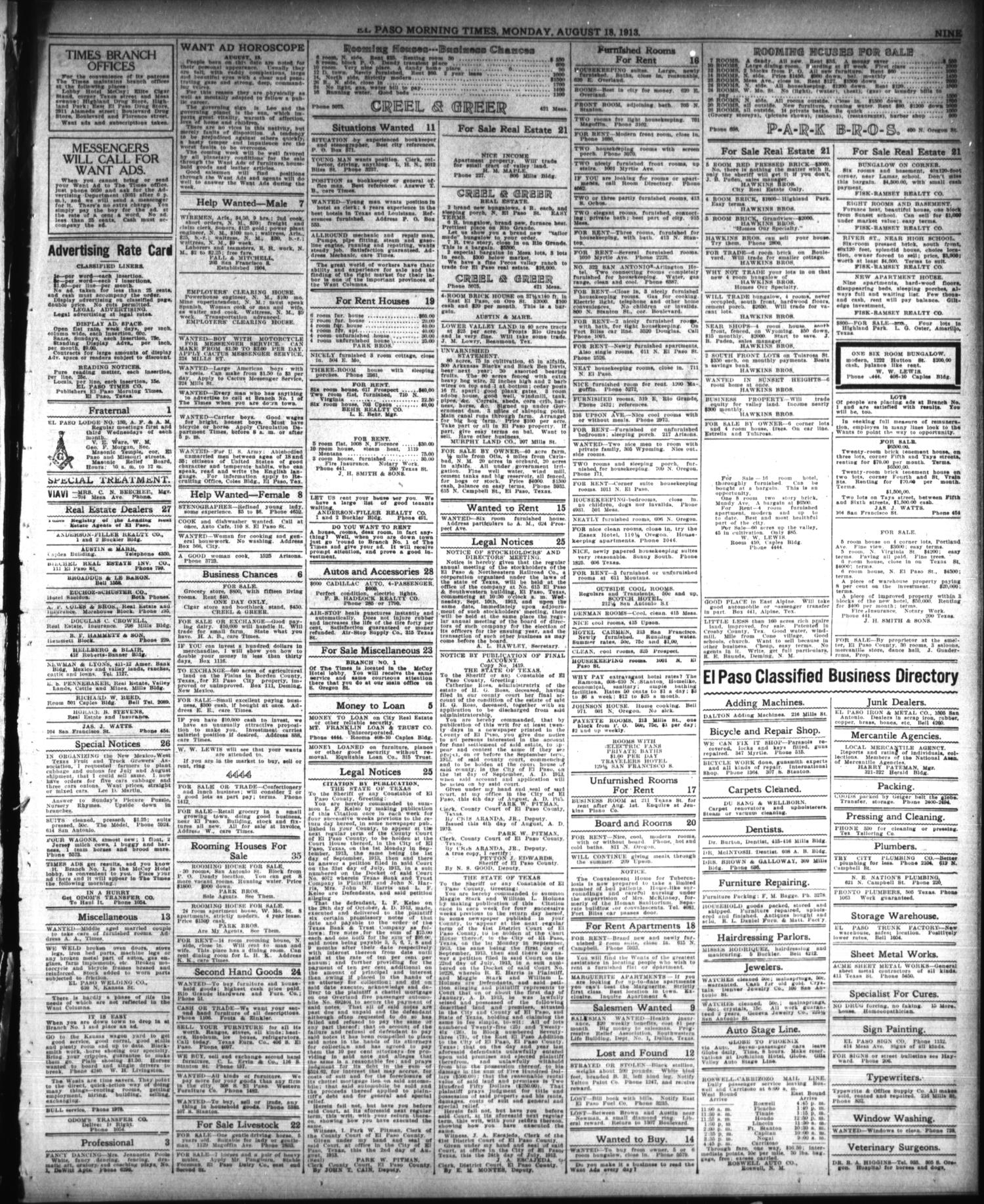 El Paso Morning Times (El Paso, Tex.), Vol. 33RD YEAR, Ed. 1, Monday, August 18, 1913                                                                                                      [Sequence #]: 9 of 10