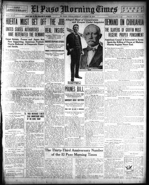 Primary view of object titled 'El Paso Morning Times (El Paso, Tex.), Vol. 34TH YEAR, Ed. 1, Sunday, August 24, 1913'.