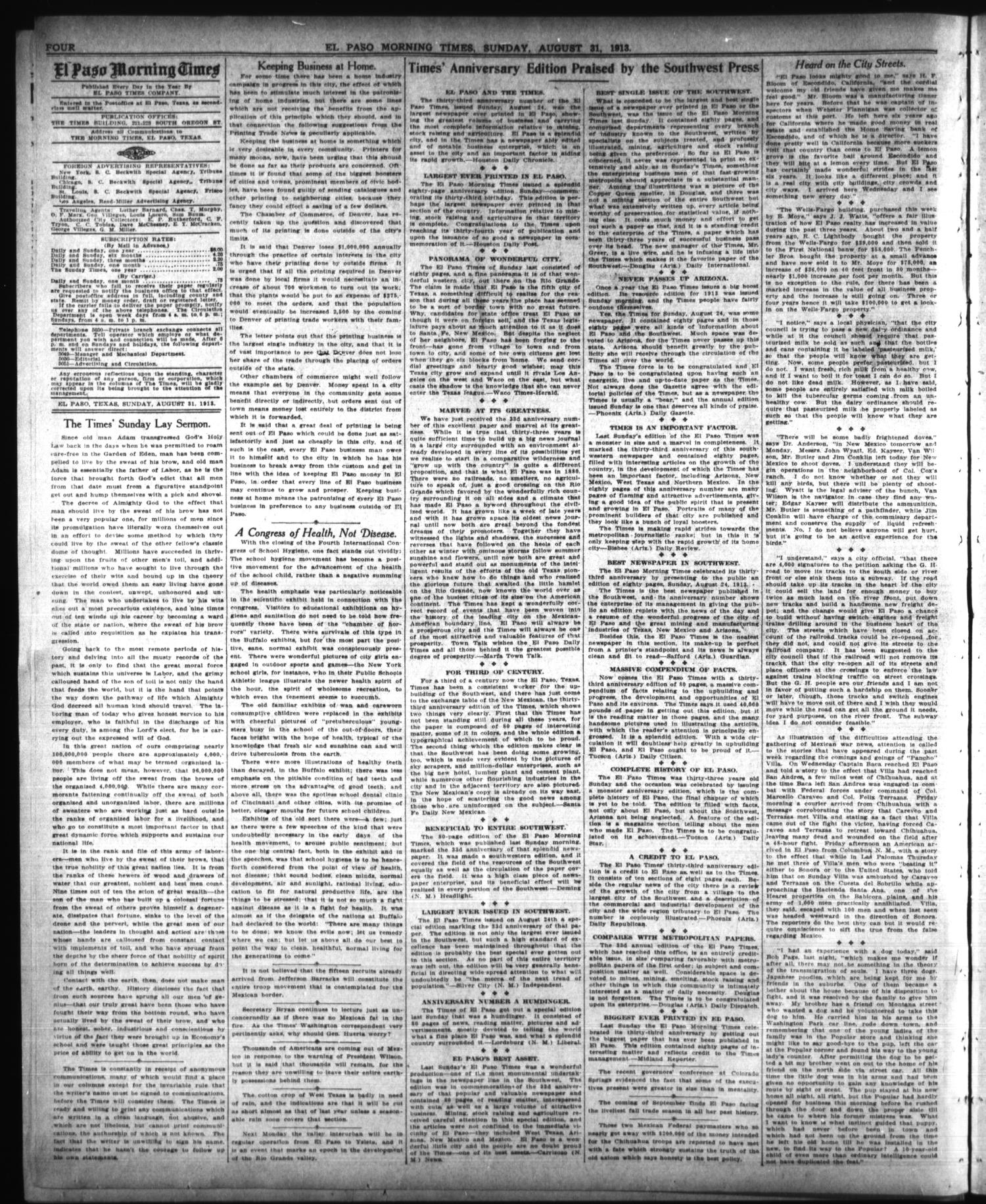 El Paso Morning Times (El Paso, Tex.), Vol. 34TH YEAR, Ed. 1, Sunday, August 31, 1913                                                                                                      [Sequence #]: 4 of 34