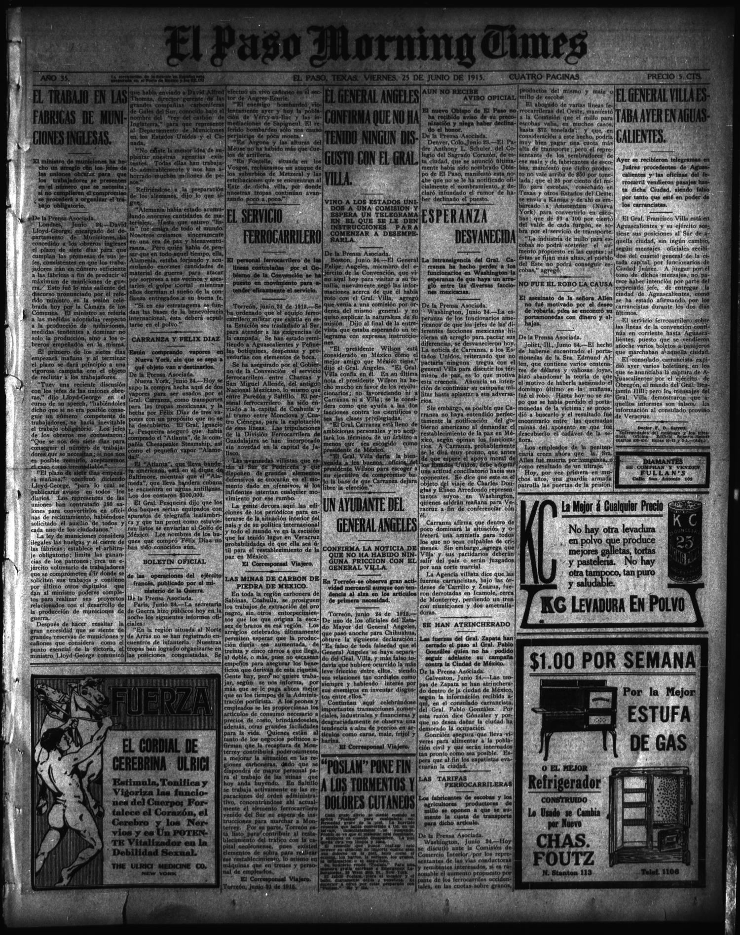 El Paso Morning Times (El Paso, Tex.), Vol. 35TH YEAR, Ed. 1, Friday, June 25, 1915                                                                                                      [Sequence #]: 1 of 4