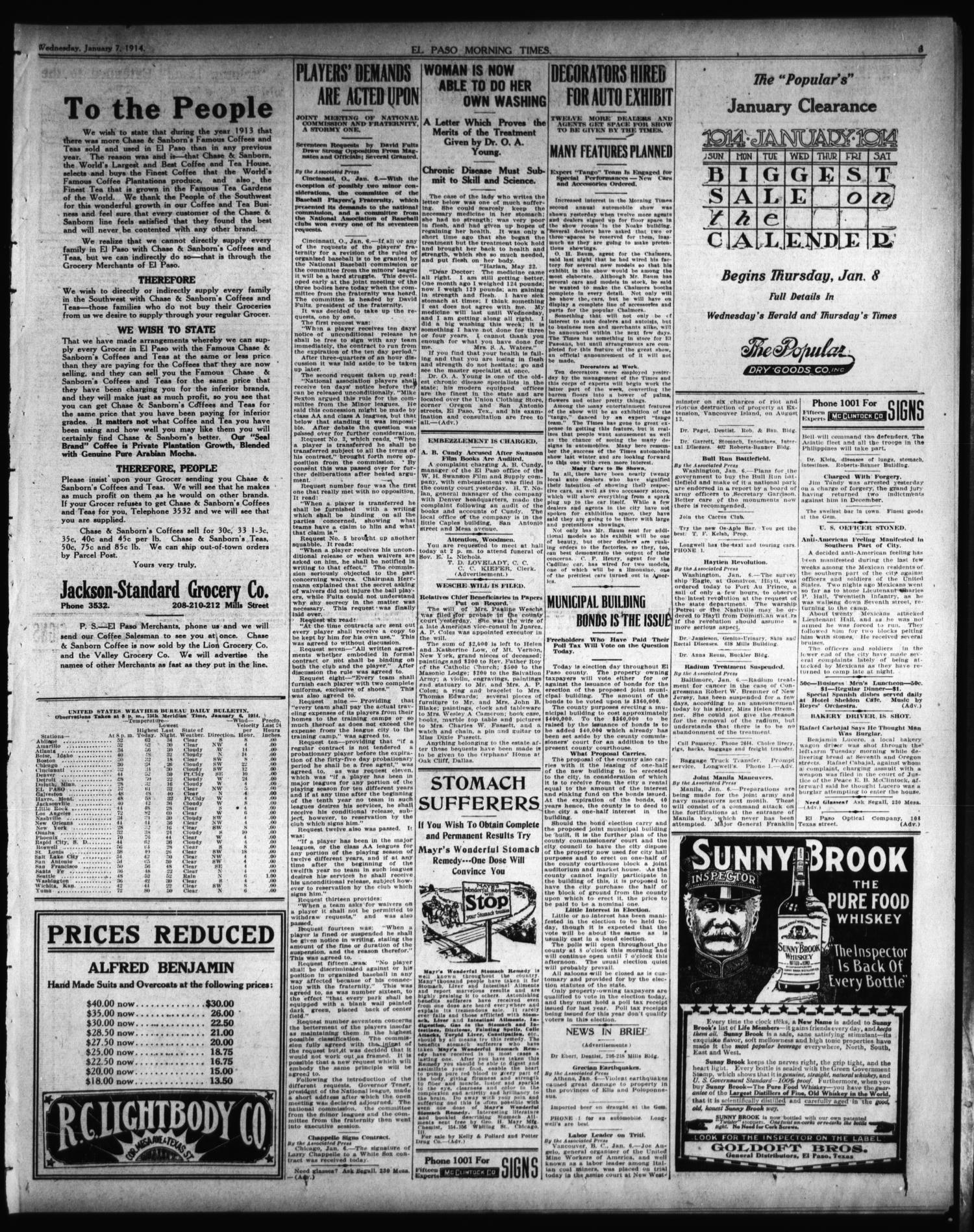 El Paso Morning Times (El Paso, Tex.), Vol. 34TH YEAR, Ed. 1, Wednesday, January 7, 1914                                                                                                      [Sequence #]: 3 of 12