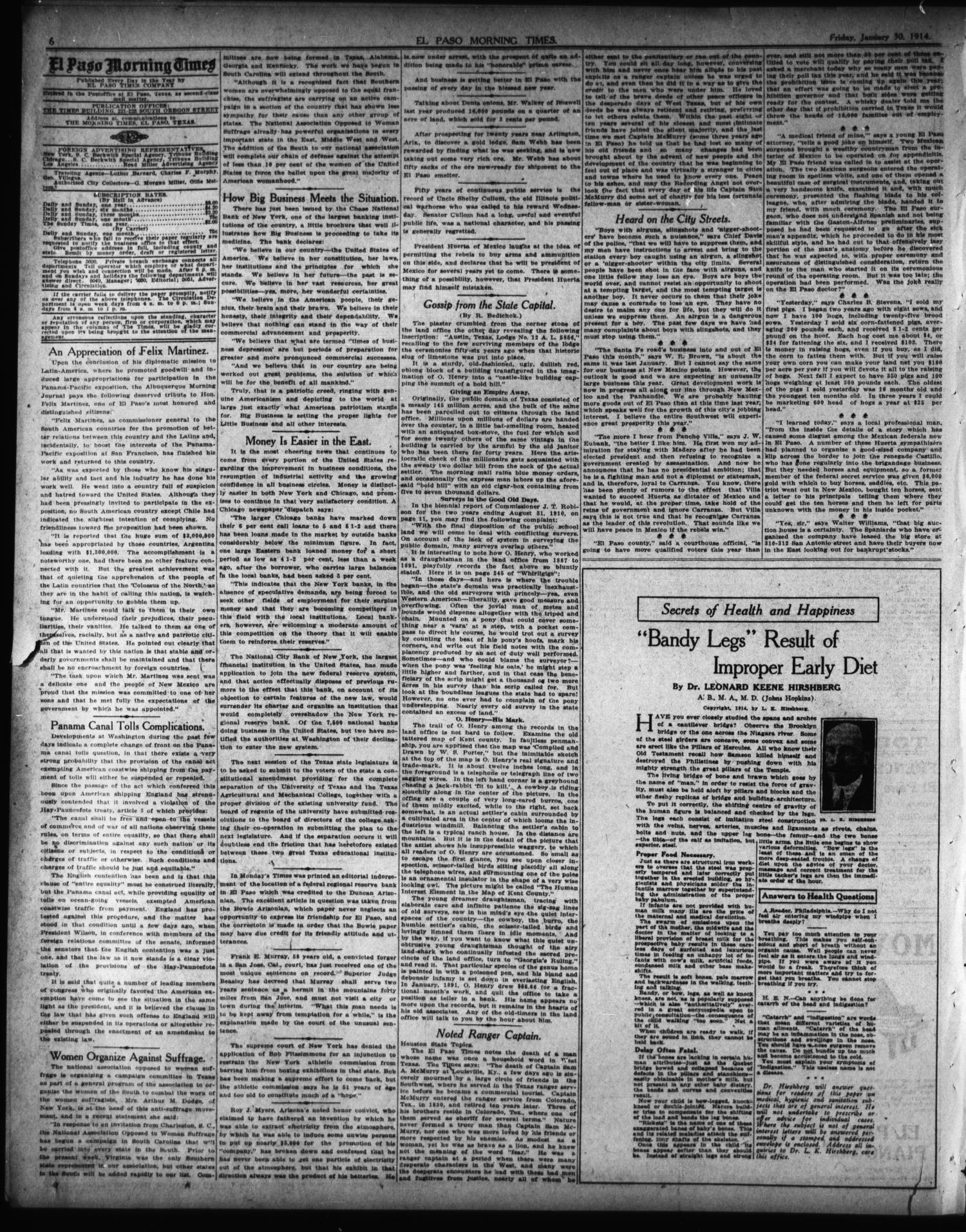 El Paso Morning Times (El Paso, Tex.), Vol. 34TH YEAR, Ed. 1, Friday, January 30, 1914                                                                                                      [Sequence #]: 6 of 12