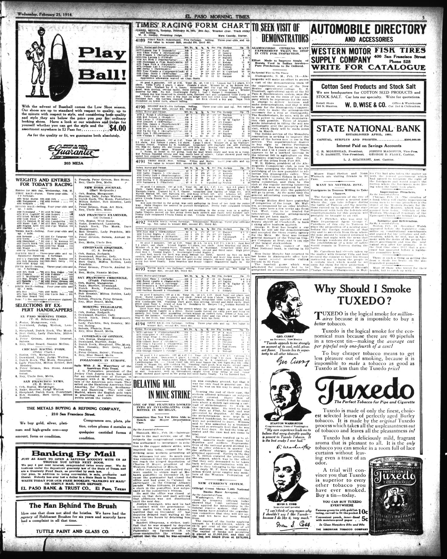 ae6af6f7 El Paso Morning Times (El Paso, Tex.), Vol. 34TH YEAR, Ed. 1, Wednesday,  February 25, 1914 - Page 5 of 12 - The Portal to Texas History