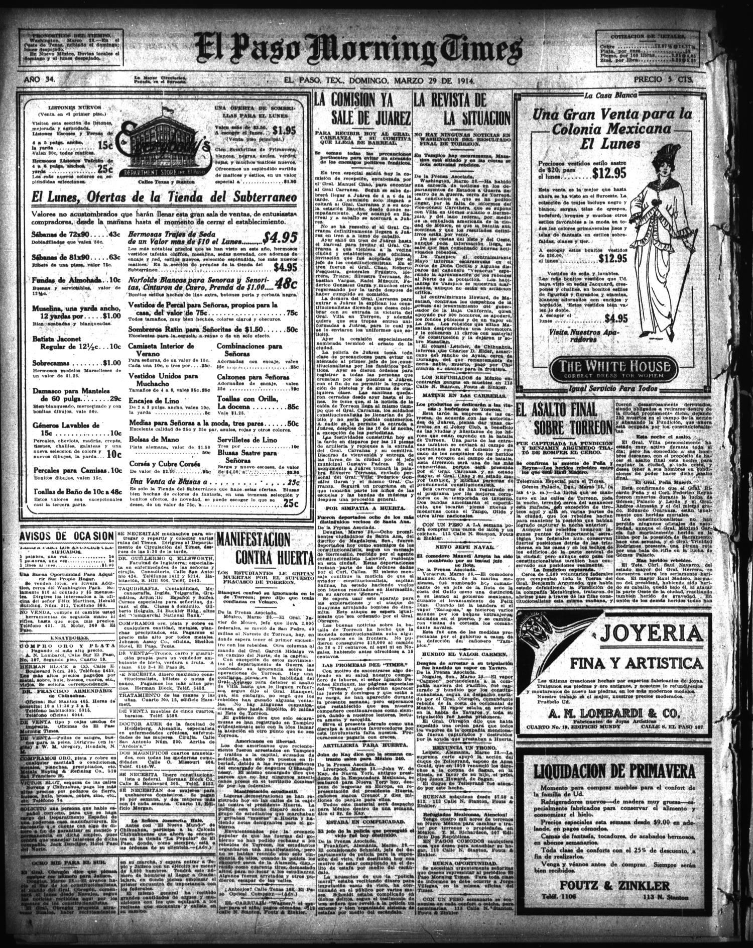 El Paso Morning Times El Paso Tex Vol 34th Year Ed 1  # Muebles Batista Chihuahua