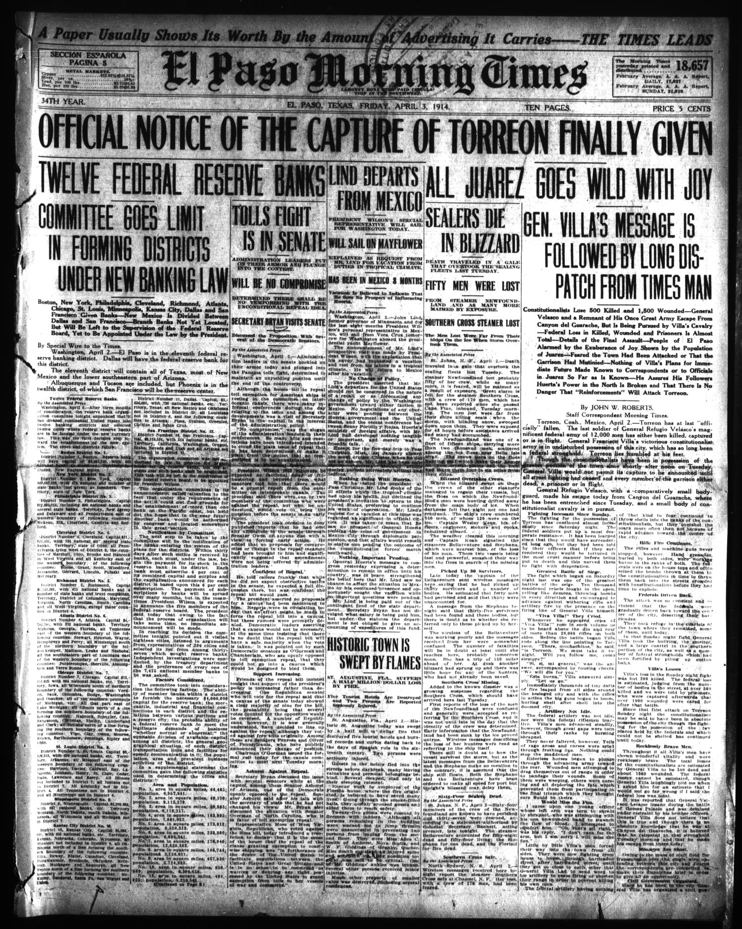 El Paso Morning Times (El Paso, Tex.), Vol. 34TH YEAR, Ed. 1, Friday, April 3, 1914                                                                                                      [Sequence #]: 1 of 10