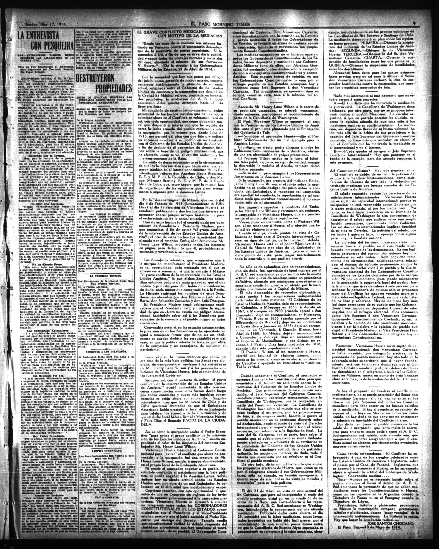 El Paso Morning Times (El Paso, Tex.), Vol. 34TH YEAR, Ed. 1, Sunday ...