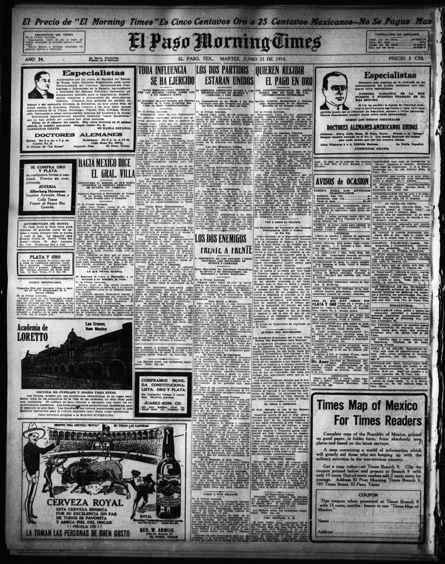 El Paso Morning Times El Paso Tex Vol 34th Year Ed 1  # Muebles Linea Huno