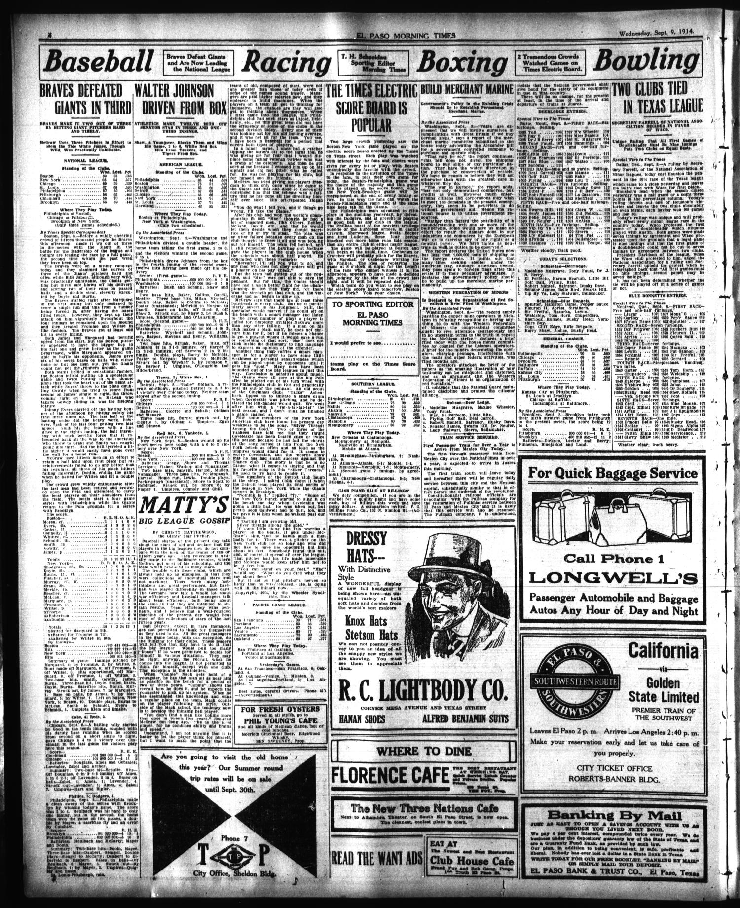 El Paso Morning Times (El Paso, Tex.), Vol. 35TH YEAR, Ed. 1, Wednesday, September 9, 1914                                                                                                      [Sequence #]: 4 of 12