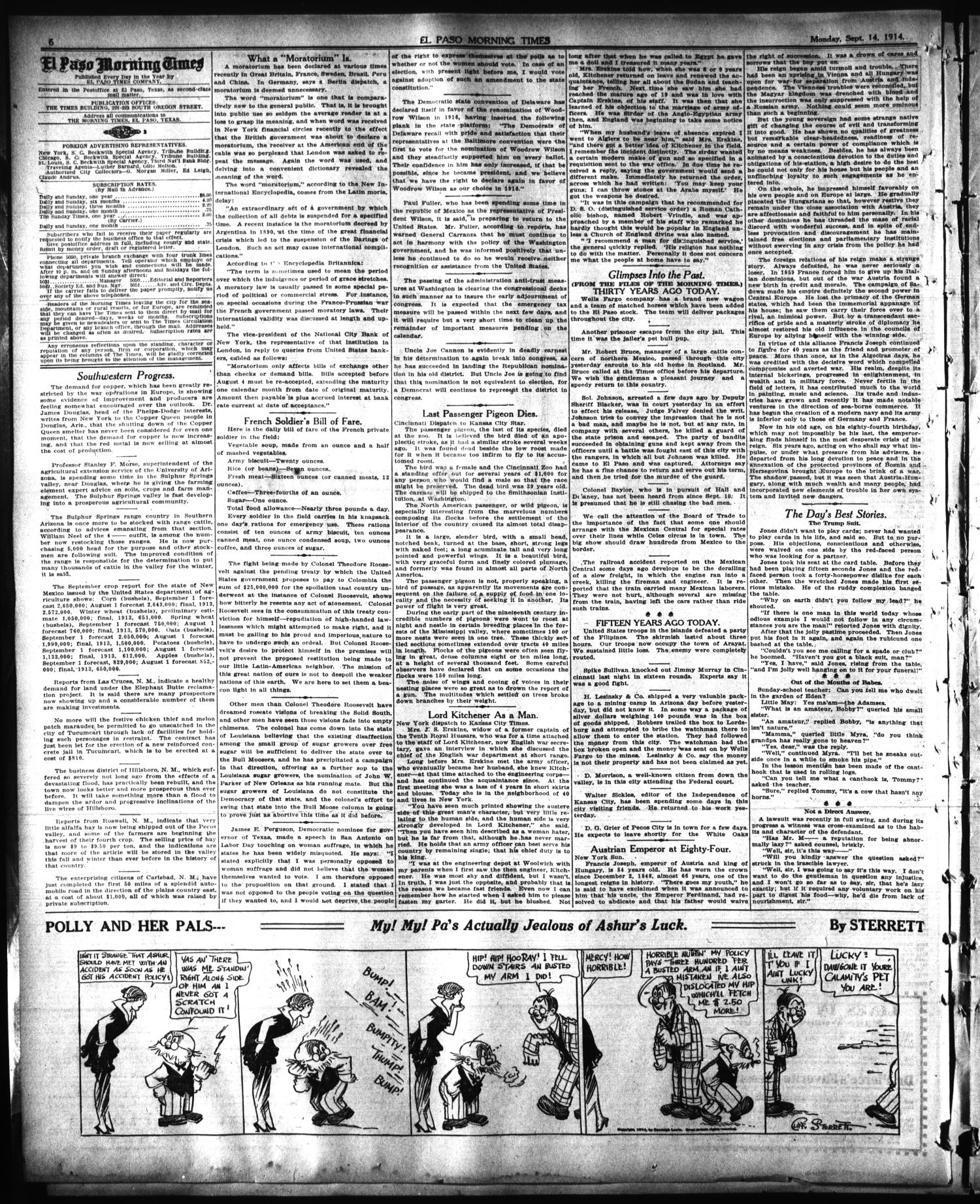 El Paso Morning Times (El Paso, Tex.), Vol. 35TH YEAR, Ed. 1, Monday, September 14, 1914                                                                                                      [Sequence #]: 6 of 16