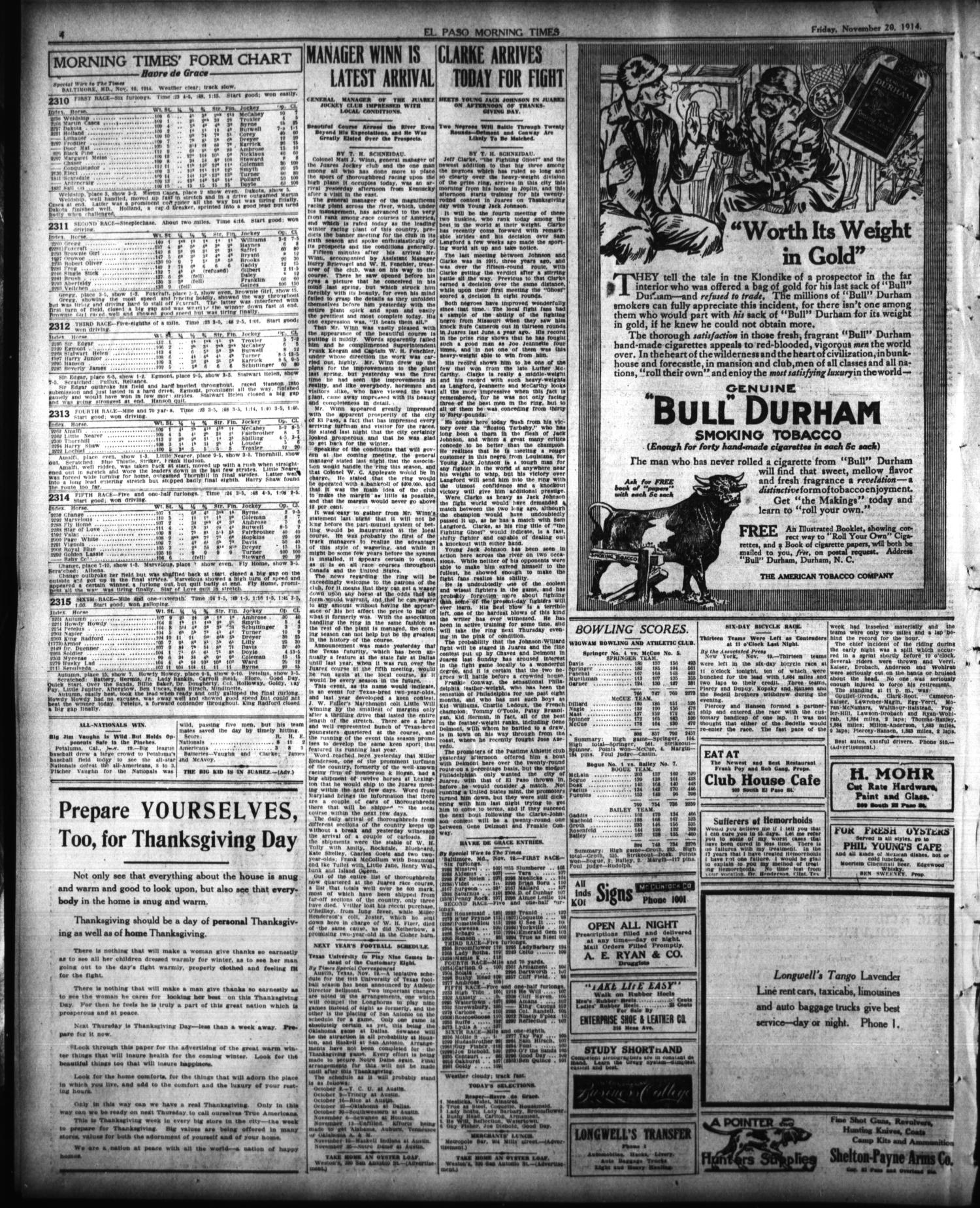 El Paso Morning Times (El Paso, Tex.), Vol. 35TH YEAR, Ed. 1, Friday, November 20, 1914                                                                                                      [Sequence #]: 4 of 12