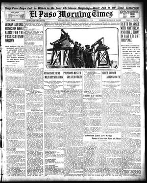 Primary view of object titled 'El Paso Morning Times (El Paso, Tex.), Vol. 35TH YEAR, Ed. 1, Monday, December 21, 1914'.