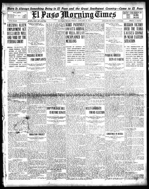 Primary view of object titled 'El Paso Morning Times (El Paso, Tex.), Vol. 35TH YEAR, Ed. 1, Friday, January 8, 1915'.