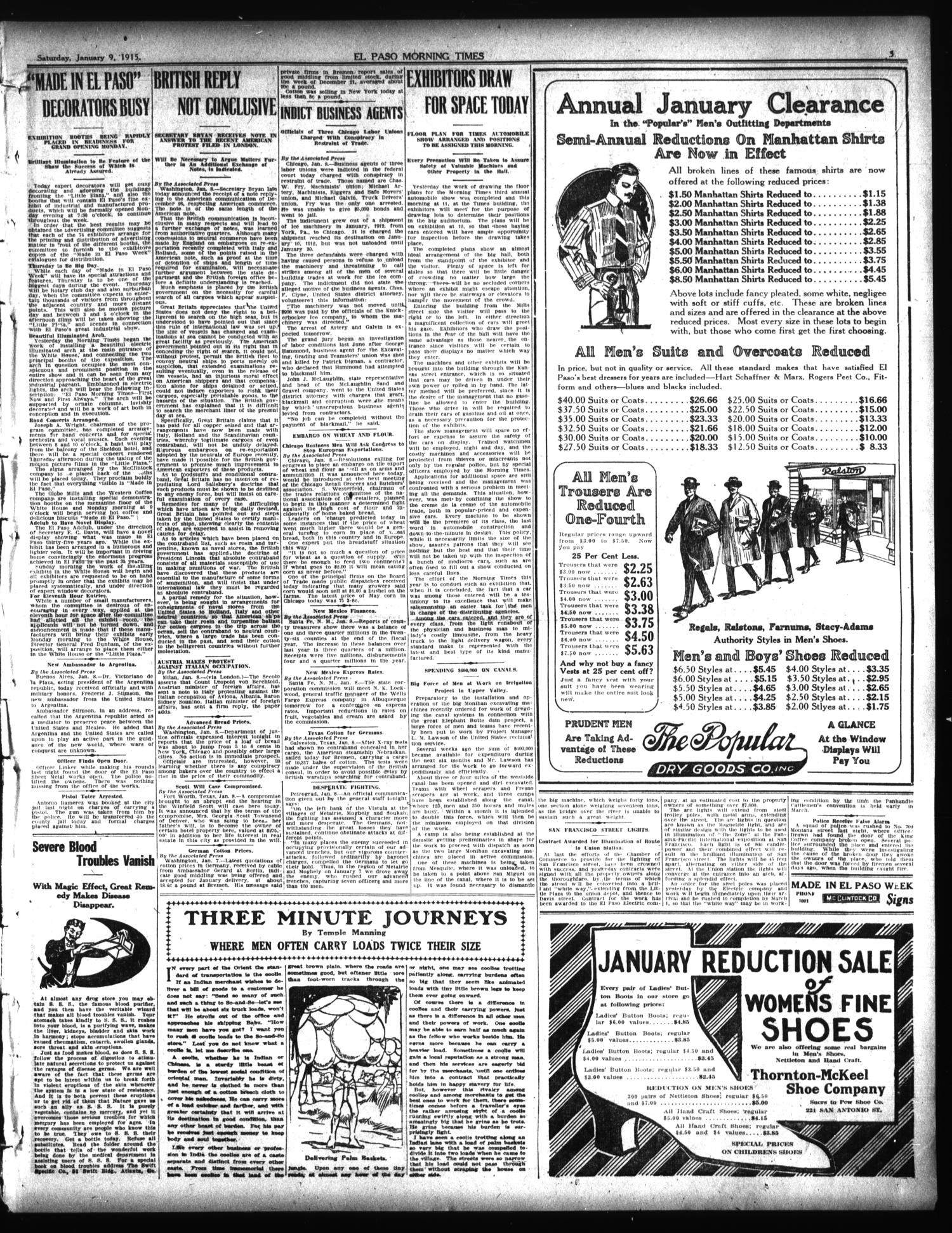 El Paso Morning Times (El Paso, Tex.), Vol. 35TH YEAR, Ed. 1, Saturday, January 9, 1915                                                                                                      [Sequence #]: 3 of 12
