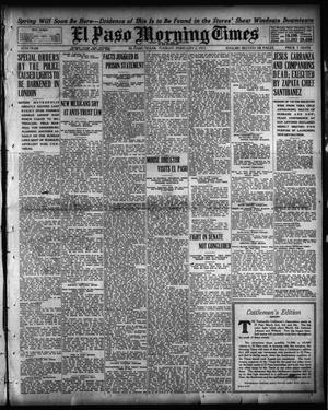 Primary view of object titled 'El Paso Morning Times (El Paso, Tex.), Vol. 35TH YEAR, Ed. 1, Tuesday, February 2, 1915'.