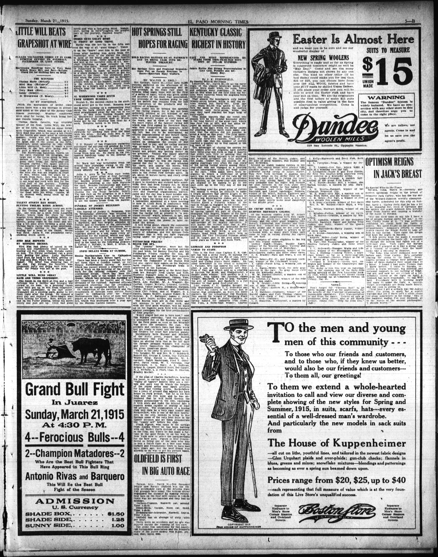El Paso Morning Times Tex Vol 35th Year Ed 1 Sunday Ecer Combat Gainer Xl 2 Lbs March 21 1915 Page 23 Of 36 The Portal To Texas History