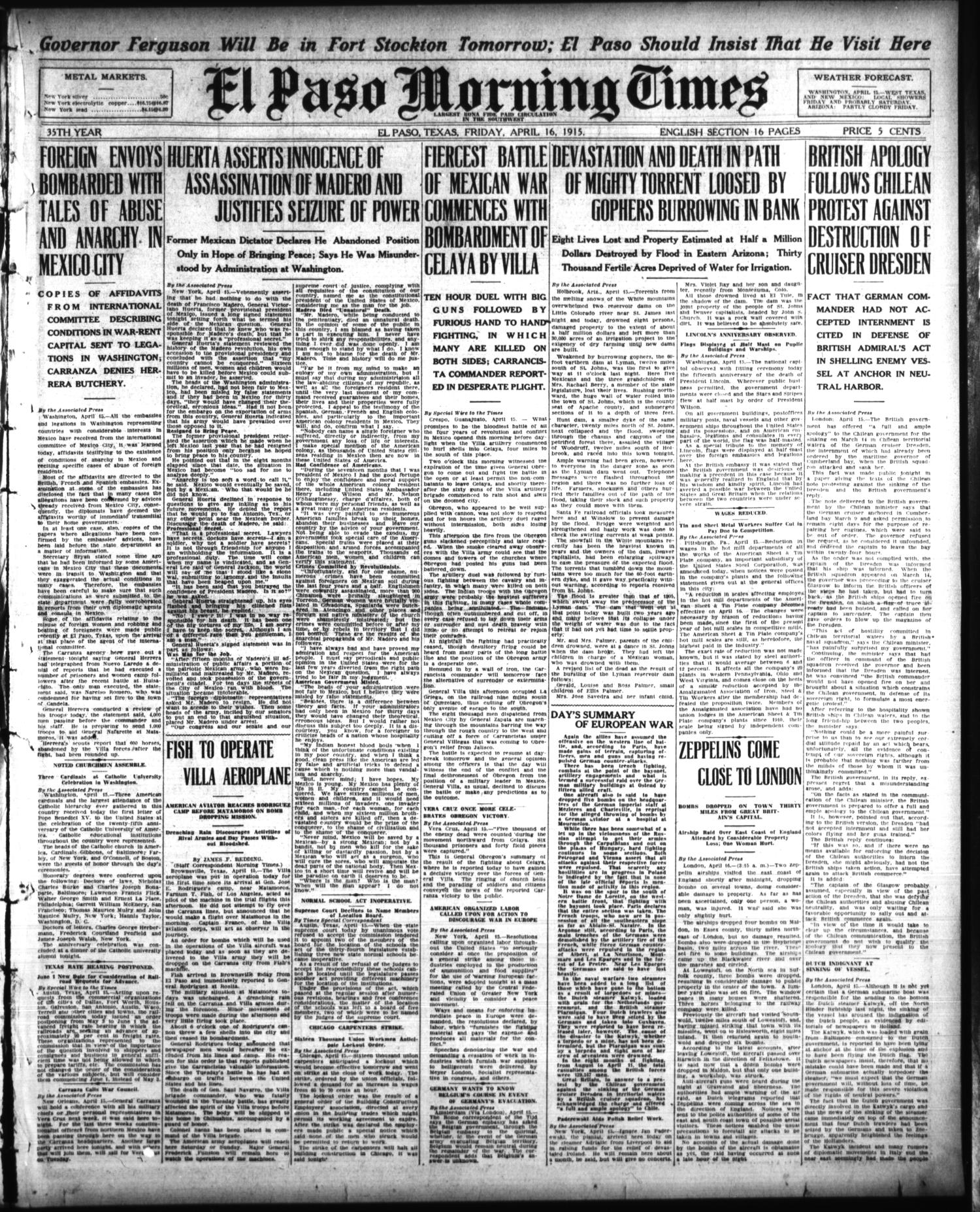 El Paso Morning Times (El Paso, Tex.), Vol. 35TH YEAR, Ed. 1, Friday, April 16, 1915                                                                                                      [Sequence #]: 1 of 16