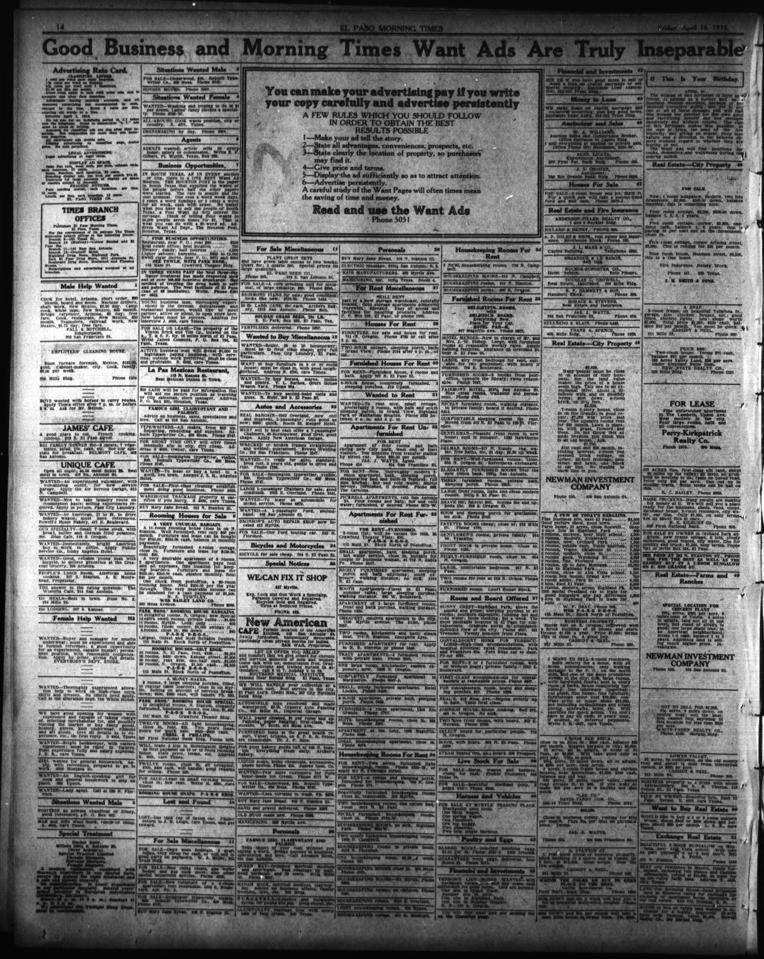 El Paso Morning Times El Paso Tex Vol 35th Year Ed 1 Friday