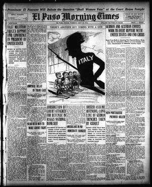 Primary view of object titled 'El Paso Morning Times (El Paso, Tex.), Vol. 35TH YEAR, Ed. 1, Tuesday, May 18, 1915'.