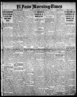 Primary view of object titled 'El Paso Morning Times (El Paso, Tex.), Vol. 36TH YEAR, Ed. 1, Monday, September 6, 1915'.