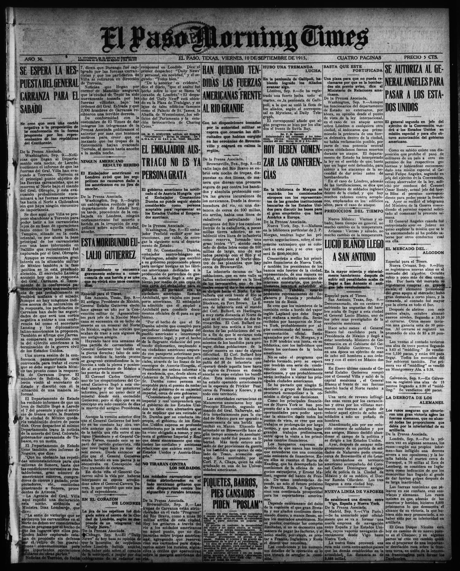 El Paso Morning Times (El Paso, Tex.), Vol. 36TH YEAR, Ed. 1, Friday, September 10, 1915                                                                                                      [Sequence #]: 1 of 4