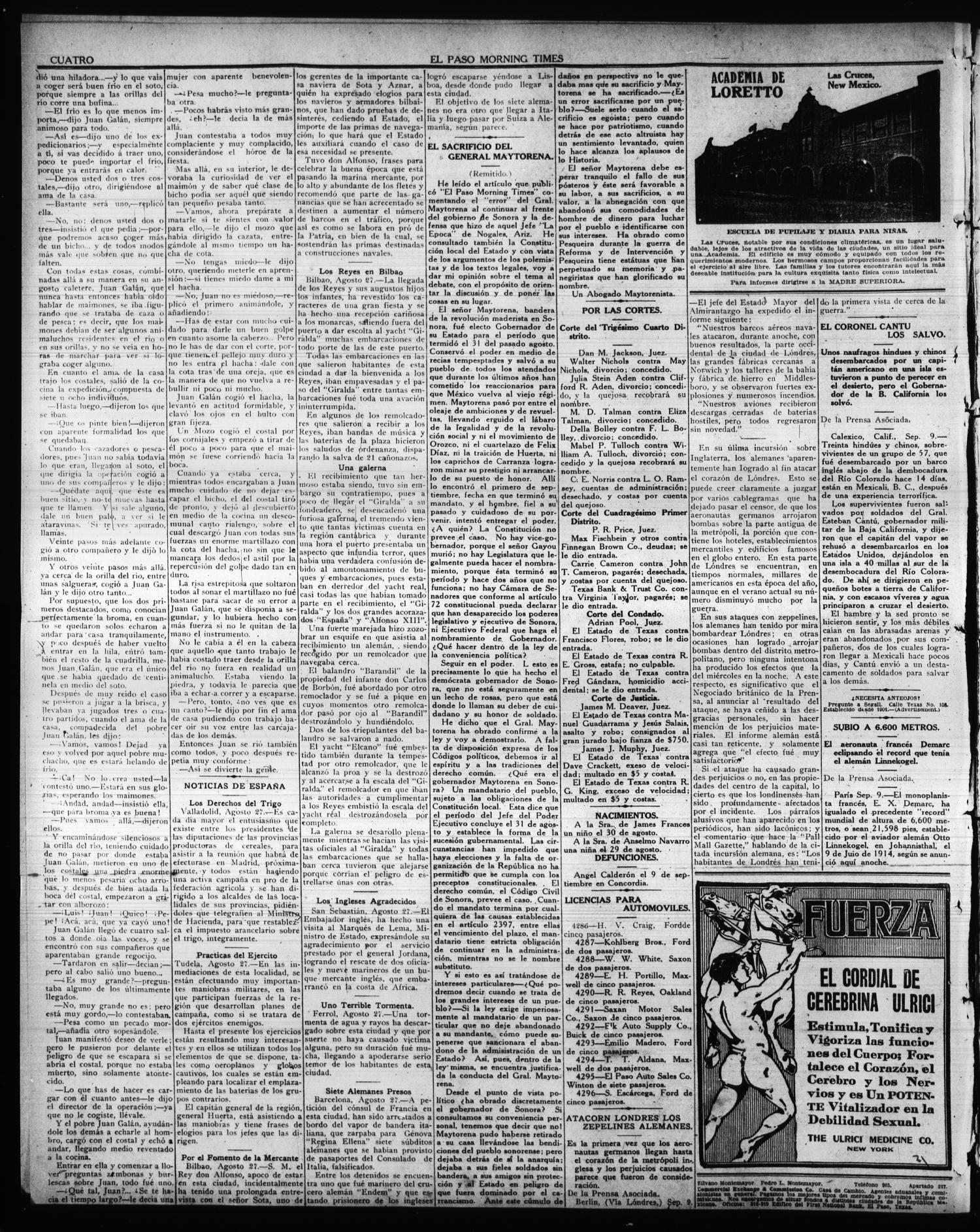 El Paso Morning Times (El Paso, Tex.), Vol. 36TH YEAR, Ed. 1, Friday, September 10, 1915                                                                                                      [Sequence #]: 4 of 4