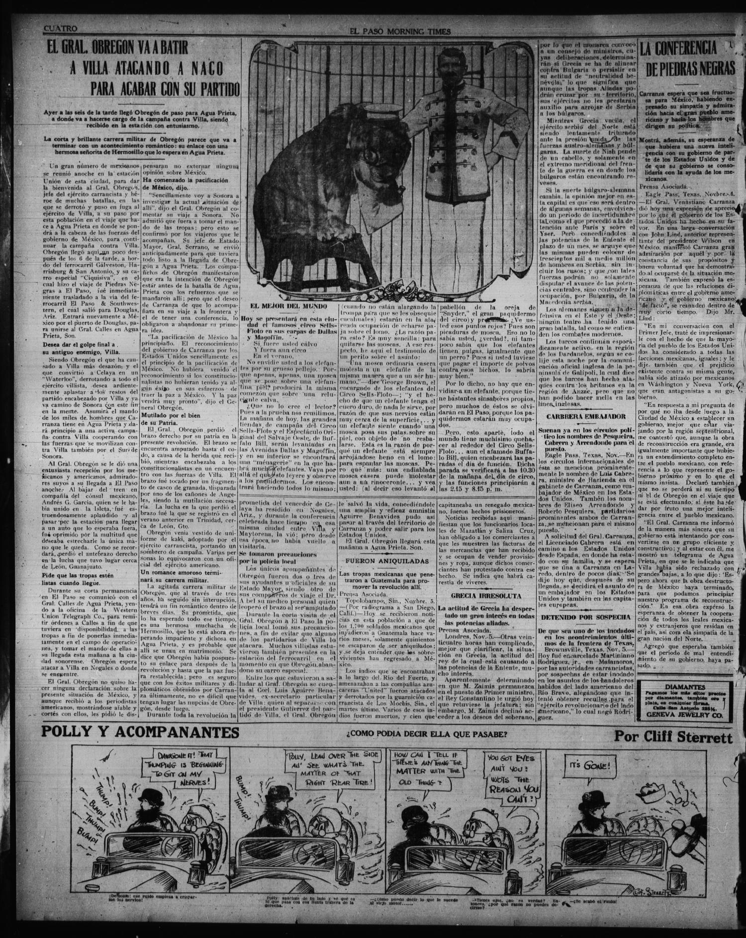 El Paso Morning Times (El Paso, Tex.), Vol. 36TH YEAR, Ed. 1, Saturday, November 6, 1915                                                                                                      [Sequence #]: 4 of 4