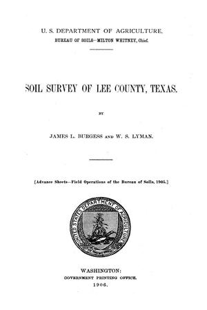Soil survey of Lee County, Texas