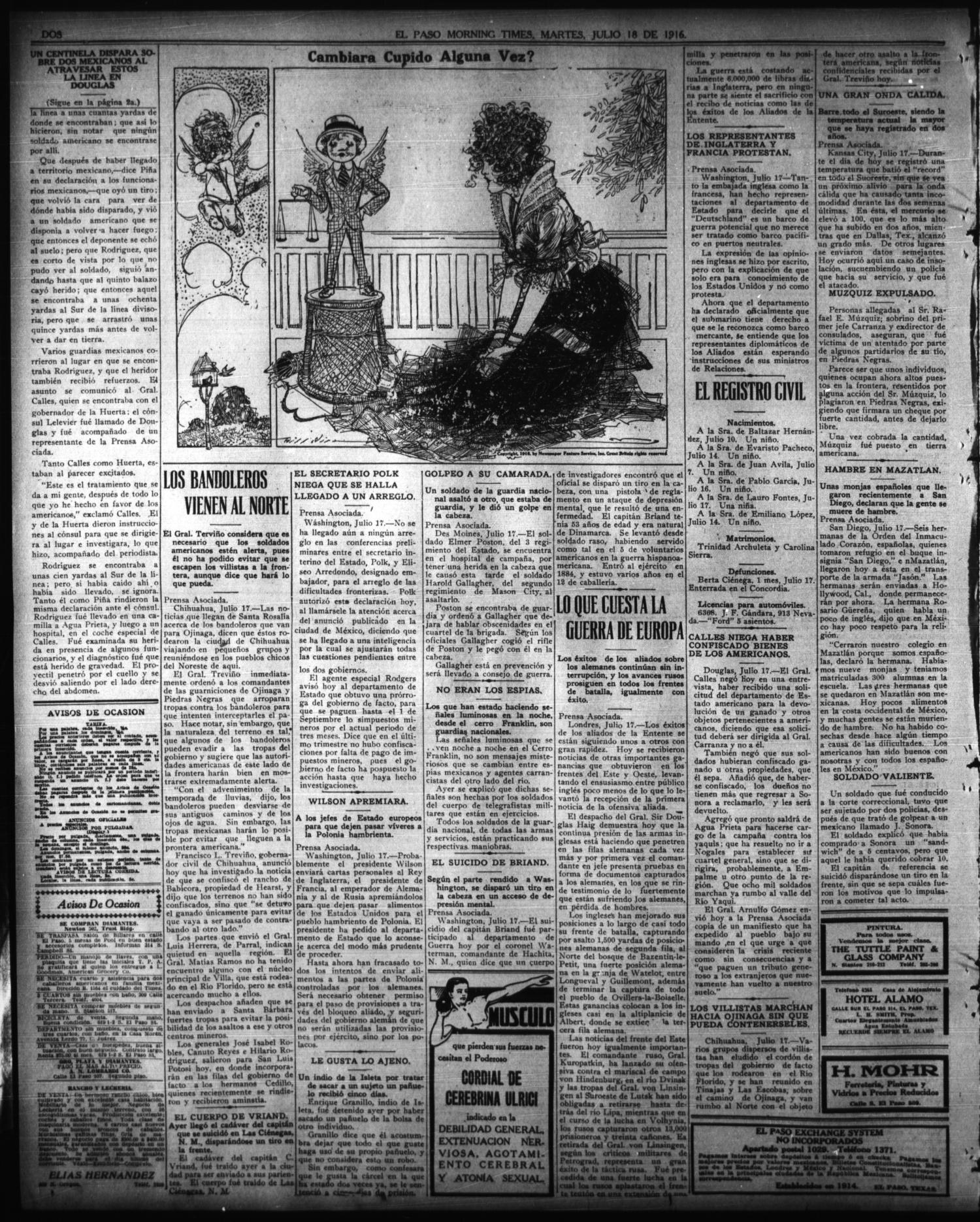 El Paso Morning Times (El Paso, Tex.), Vol. 36TH YEAR, Ed. 1, Tuesday, July 18, 1916                                                                                                      [Sequence #]: 2 of 4