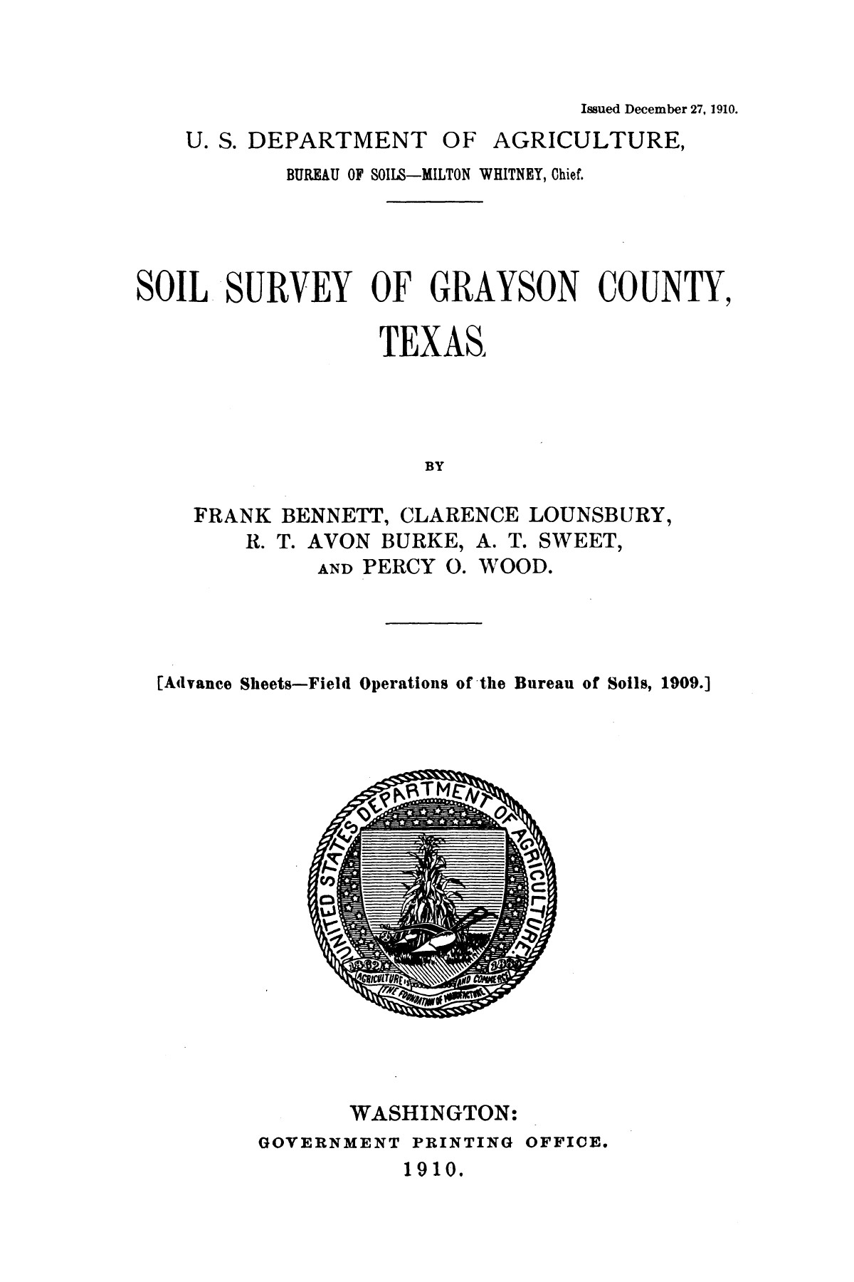 Soil survey of Grayson County, Texas                                                                                                      [Sequence #]: 1 of 39