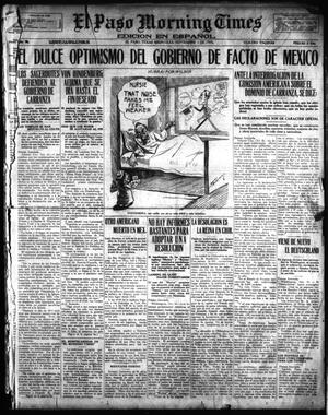 Primary view of object titled 'El Paso Morning Times (El Paso, Tex.), Vol. 36TH YEAR, Ed. 1, Wednesday, November 1, 1916'.