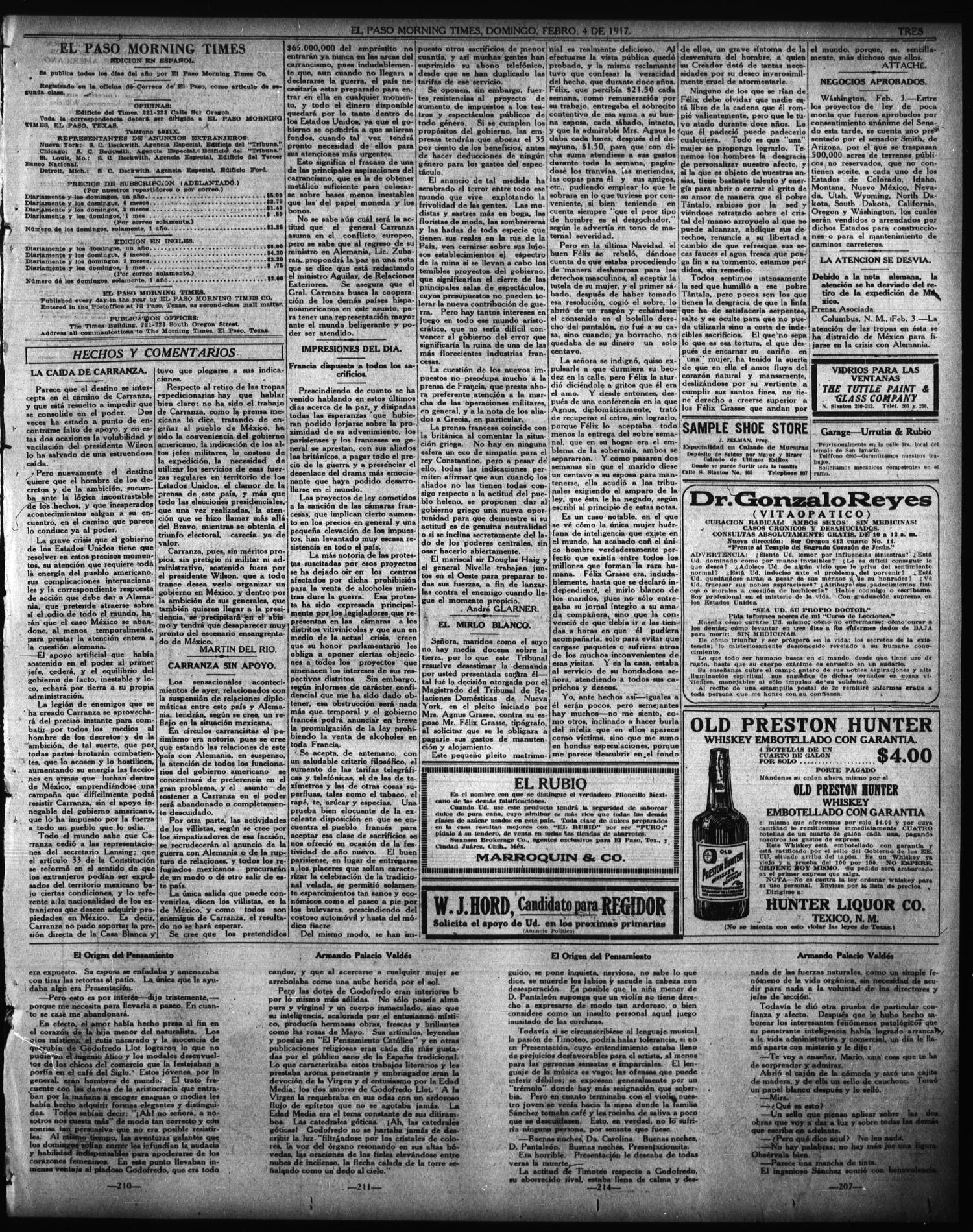 El Paso Morning Times (El Paso, Tex.), Vol. 36TH YEAR, Ed. 1, Sunday, February 4, 1917                                                                                                      [Sequence #]: 3 of 4