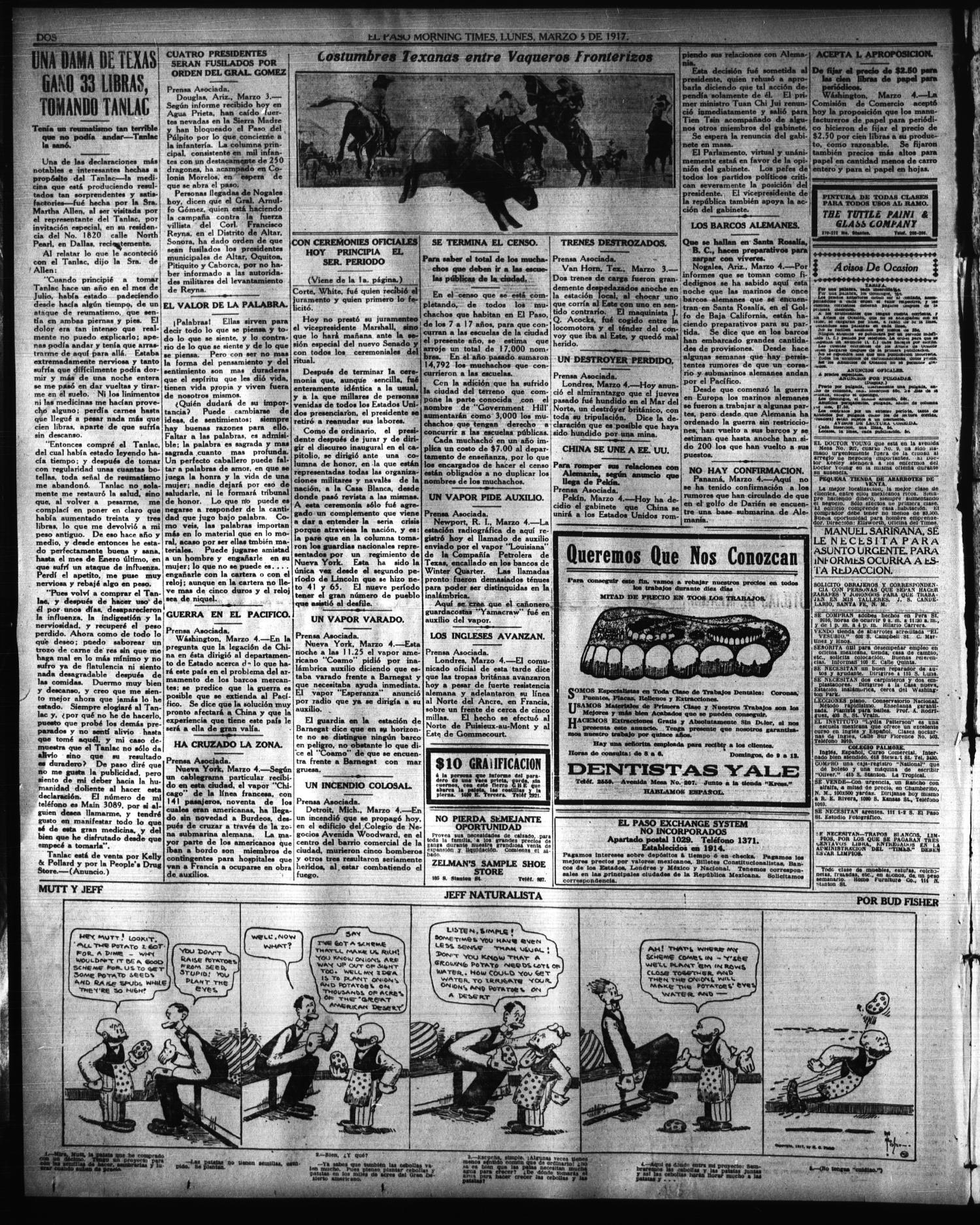El Paso Morning Times (El Paso, Tex.), Vol. 36TH YEAR, Ed. 1, Monday ...