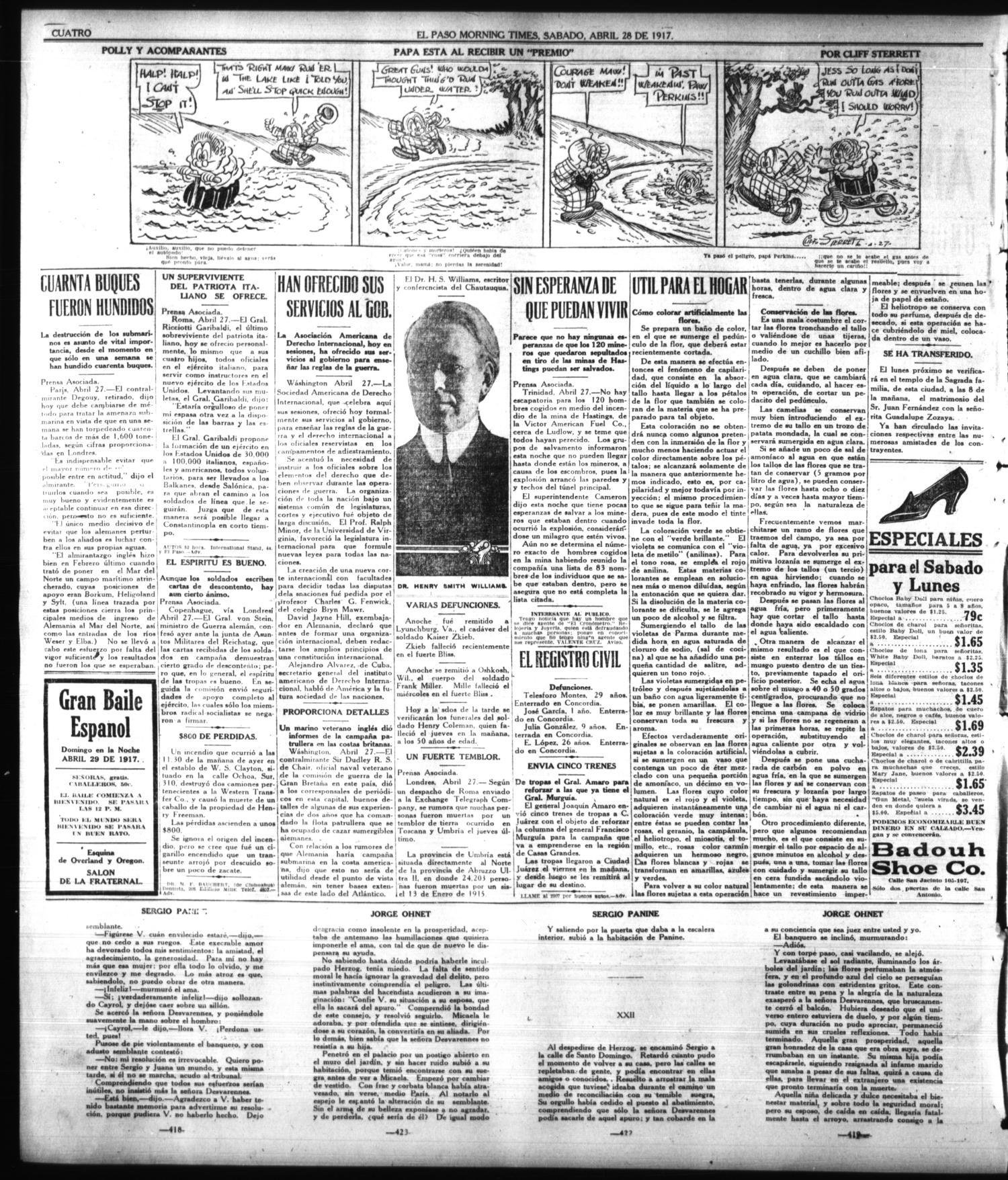 d48ef942a2d476 El Paso Morning Times (El Paso, Tex.), Vol. 36TH YEAR, Ed. 1, Saturday,  April 28, 1917 - Page 4 of 4 - The Portal to Texas History