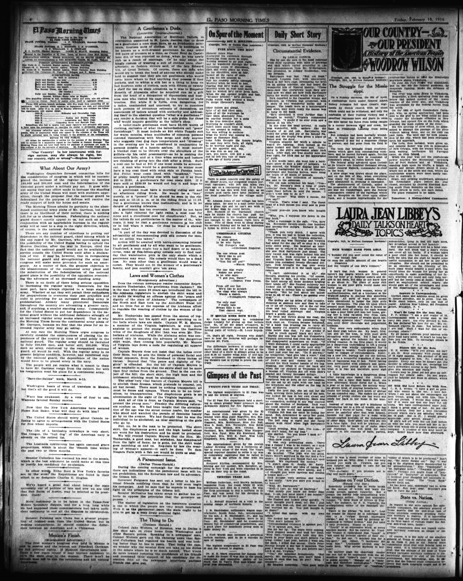 El Paso Morning Times (El Paso, Tex.), Vol. 36TH YEAR, Ed. 1, Friday, February 18, 1916                                                                                                      [Sequence #]: 4 of 14