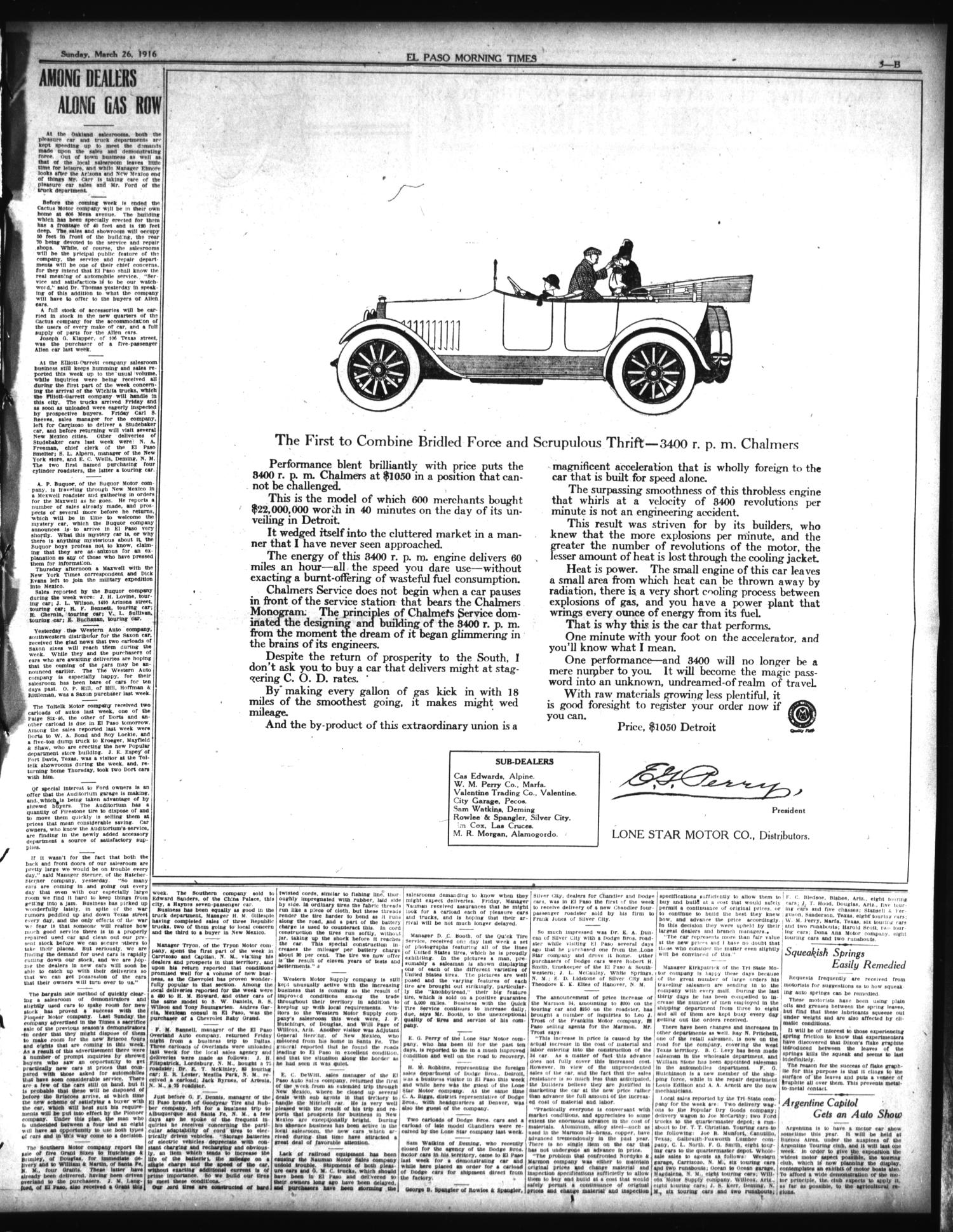 El Paso Morning Times (El Paso, Tex.), Vol. 36TH YEAR, Ed. 1, Sunday, March 26, 1916 - Page 27 of 46 - The Portal to Texas History