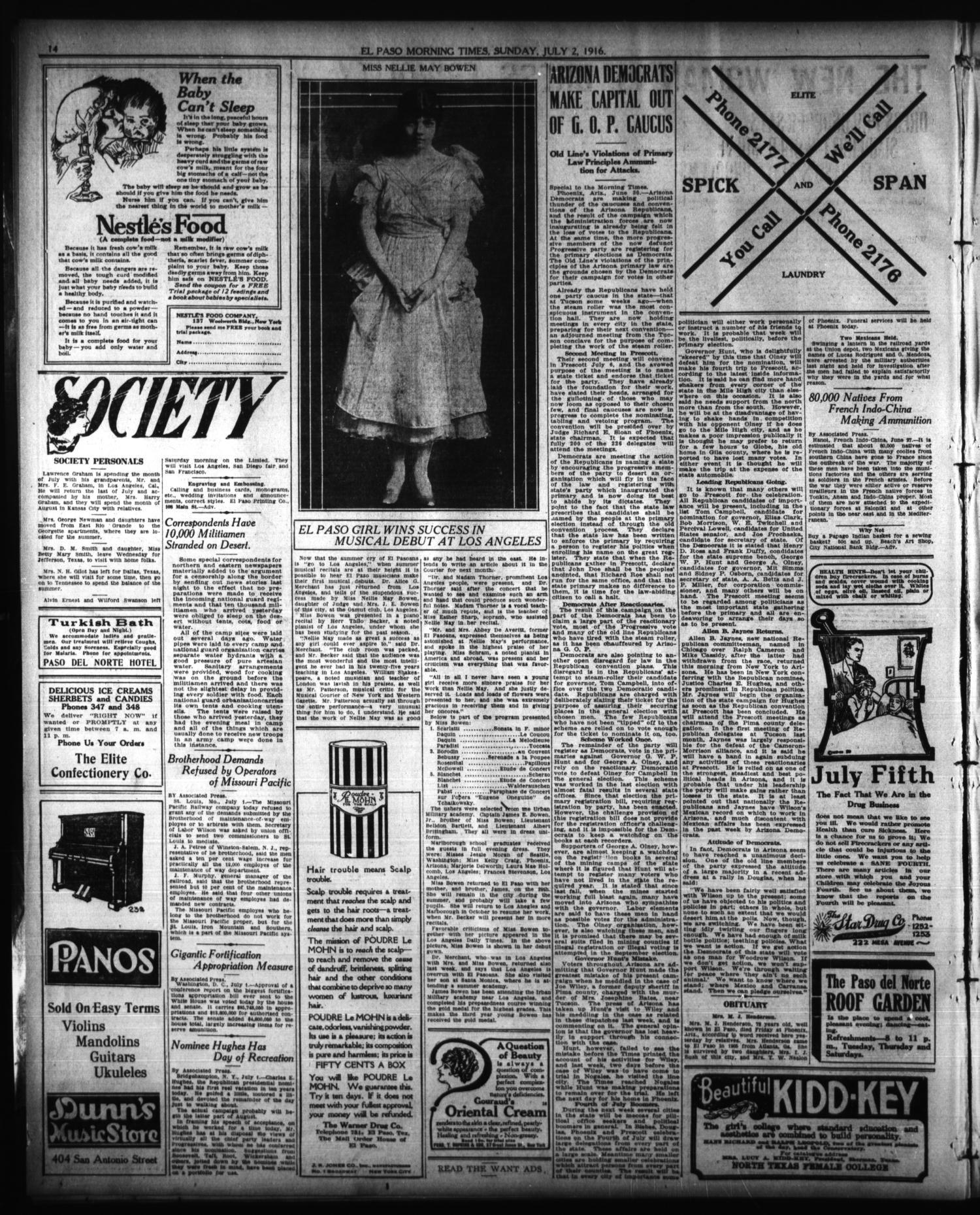 El Paso Morning Times El Paso Tex Vol 36th Year Ed 1 Sunday July 2 1916 Page 14 Of 42 The Portal To Texas History