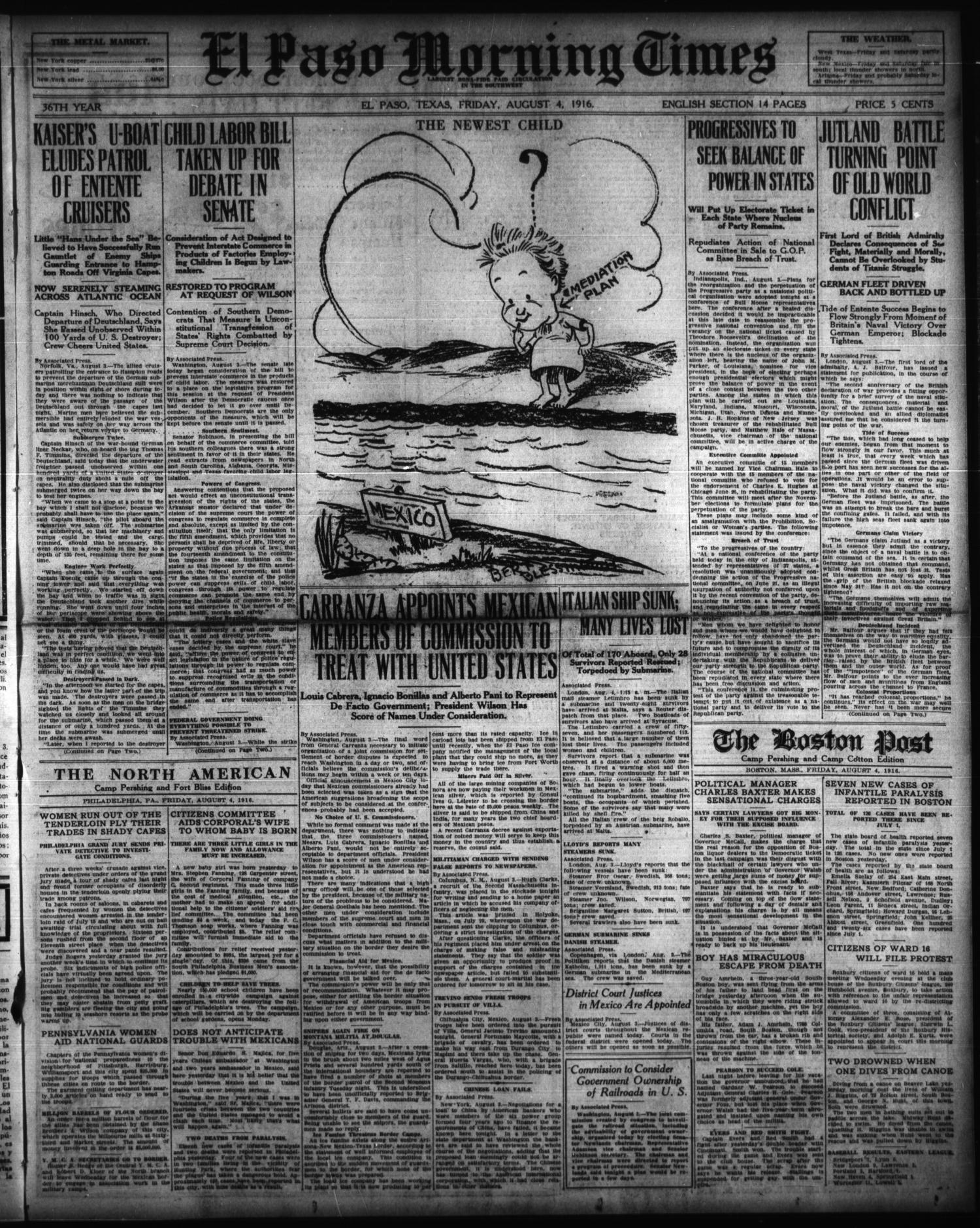 El Paso Morning Times (El Paso, Tex.), Vol. 36TH YEAR, Ed. 1, Friday, August 4, 1916                                                                                                      [Sequence #]: 1 of 14