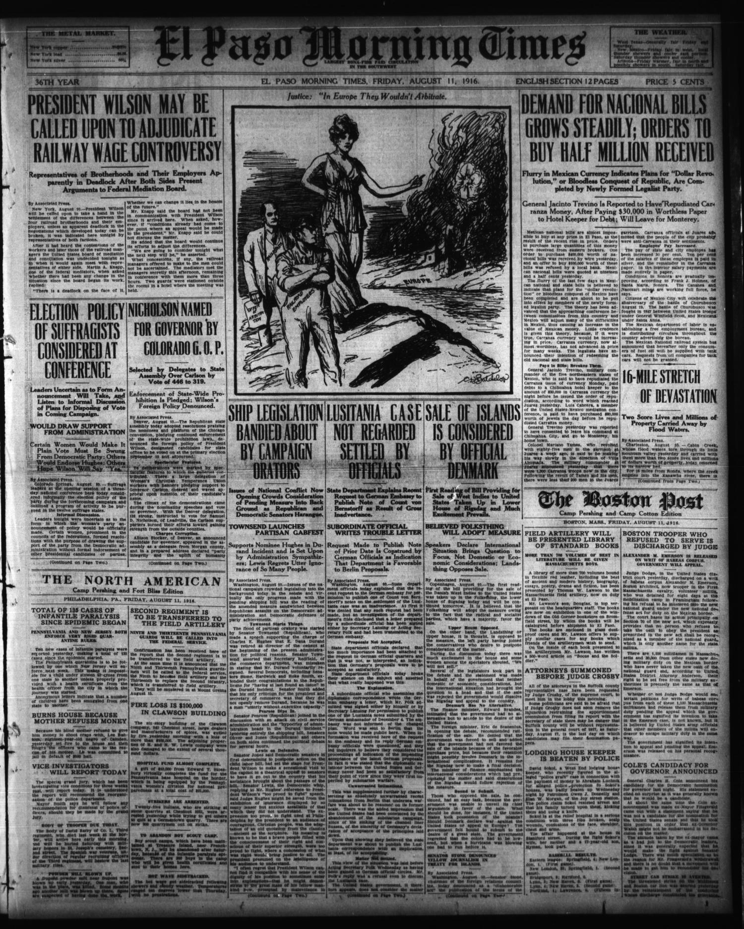 El Paso Morning Times (El Paso, Tex.), Vol. 36TH YEAR, Ed. 1, Friday, August 11, 1916                                                                                                      [Sequence #]: 1 of 12