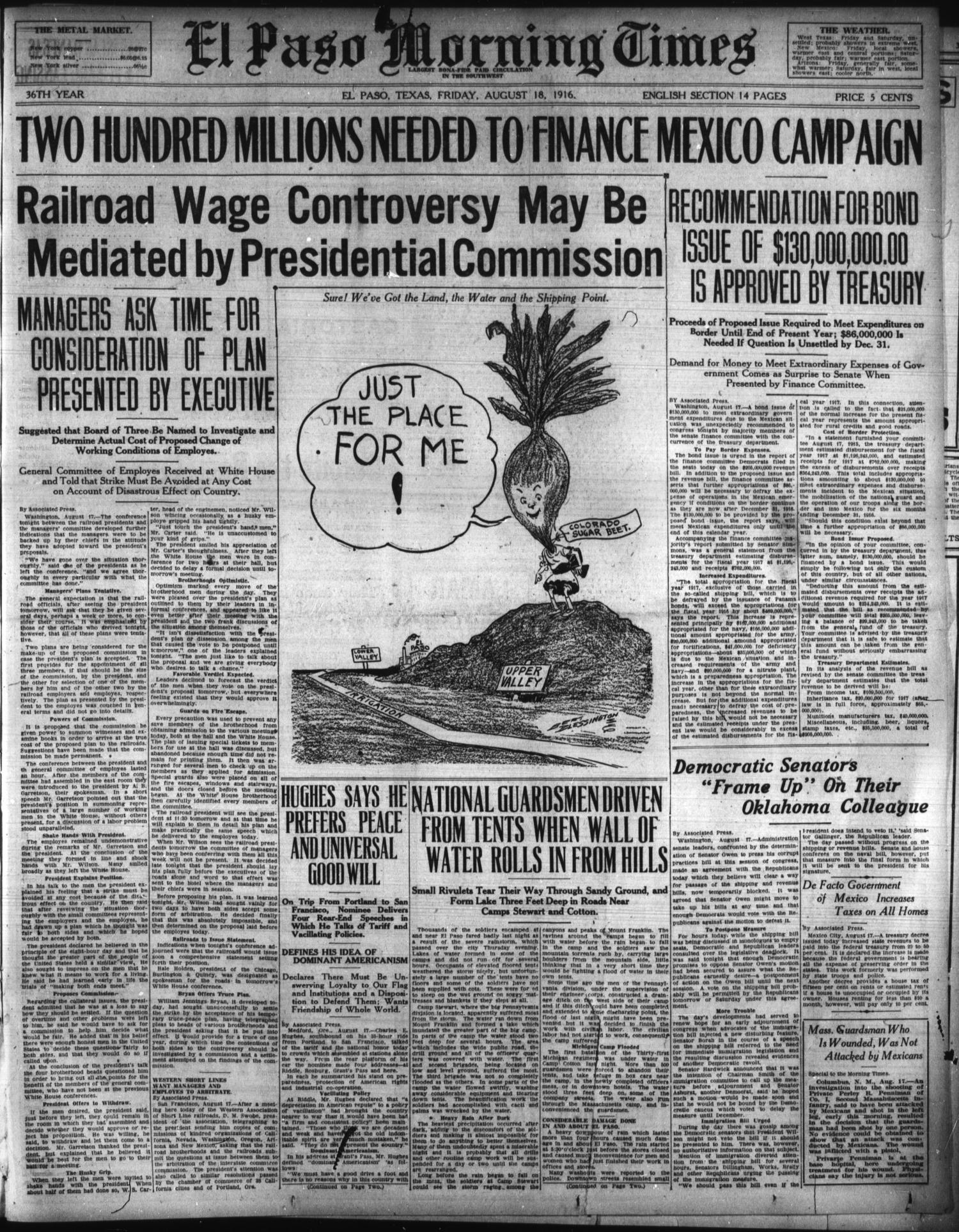 El Paso Morning Times (El Paso, Tex.), Vol. 36TH YEAR, Ed. 1, Friday, August 18, 1916                                                                                                      [Sequence #]: 1 of 14