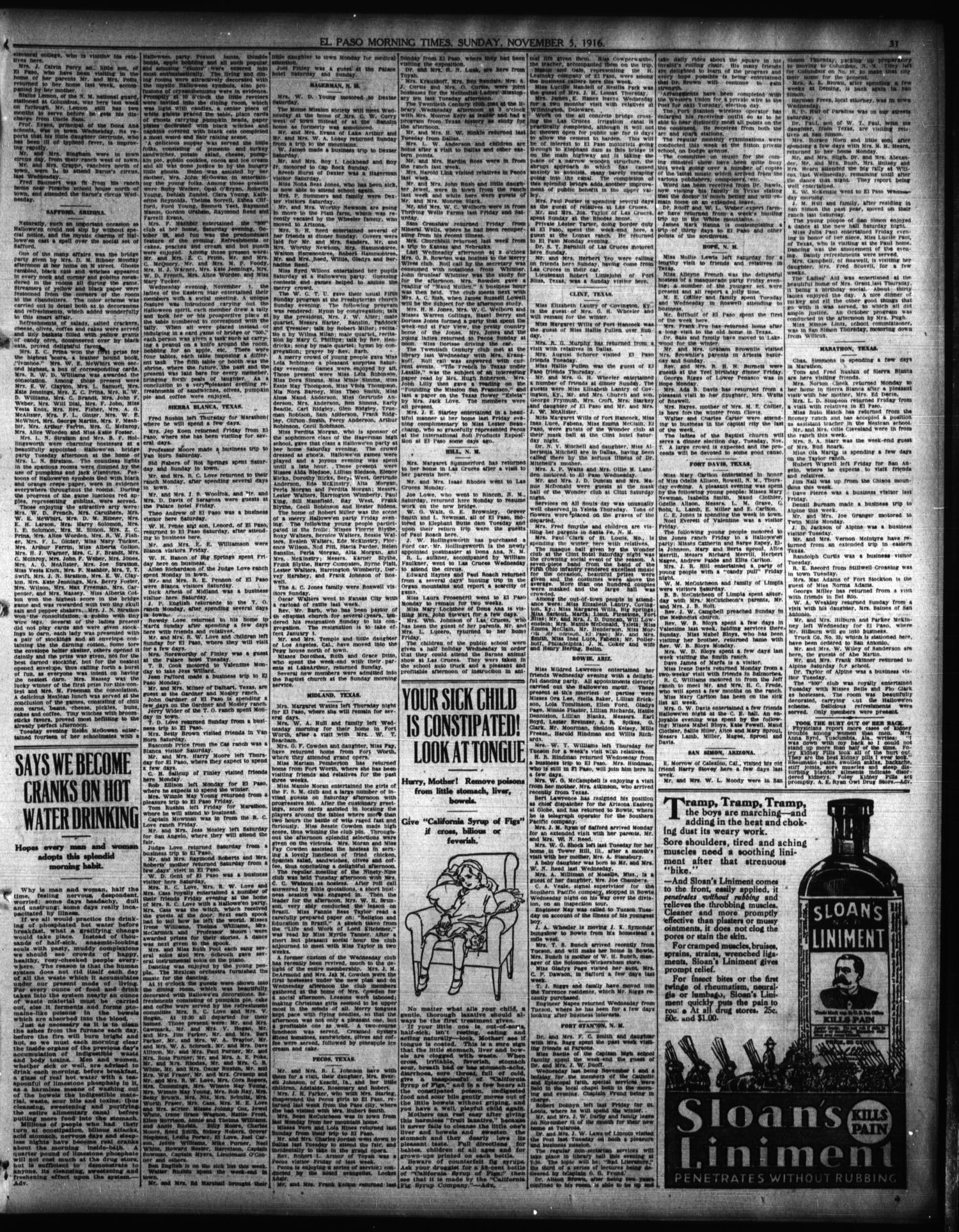 El Paso Morning Times (El Paso, Tex.), Vol. 37TH YEAR, Ed. 1, Sunday ...